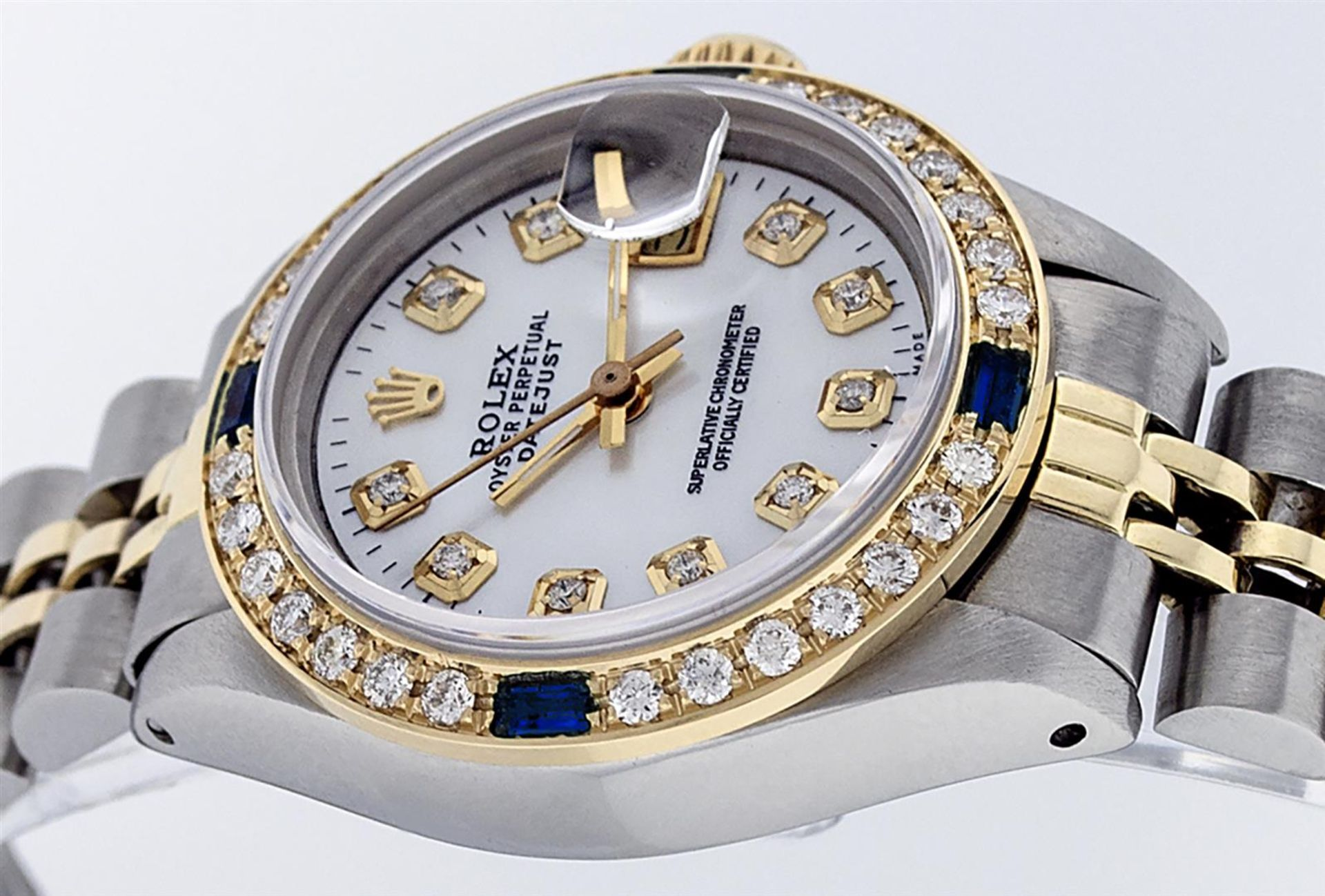 Rolex Ladies 2T 26 MOP Diamond & Sapphire Oyster Perpetual Datejust Serviced - Image 3 of 9