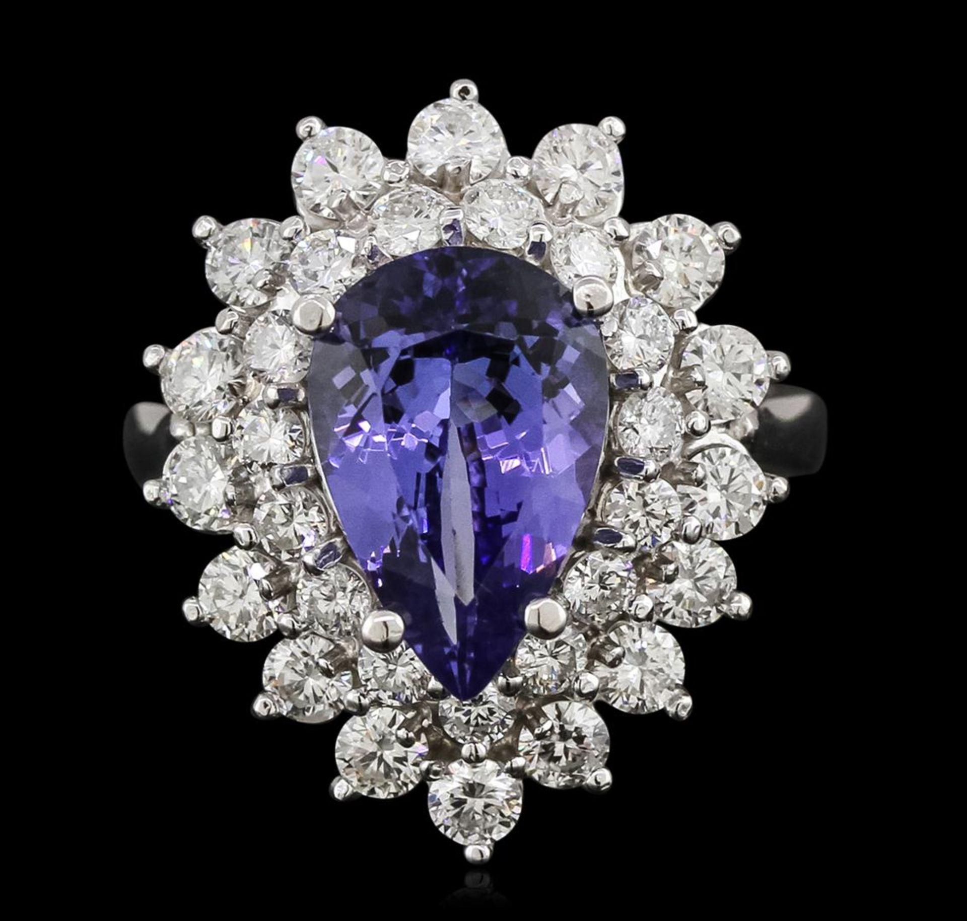 14KT White Gold 3.69 ctw Tanzanite and Diamond Ring - Image 2 of 3