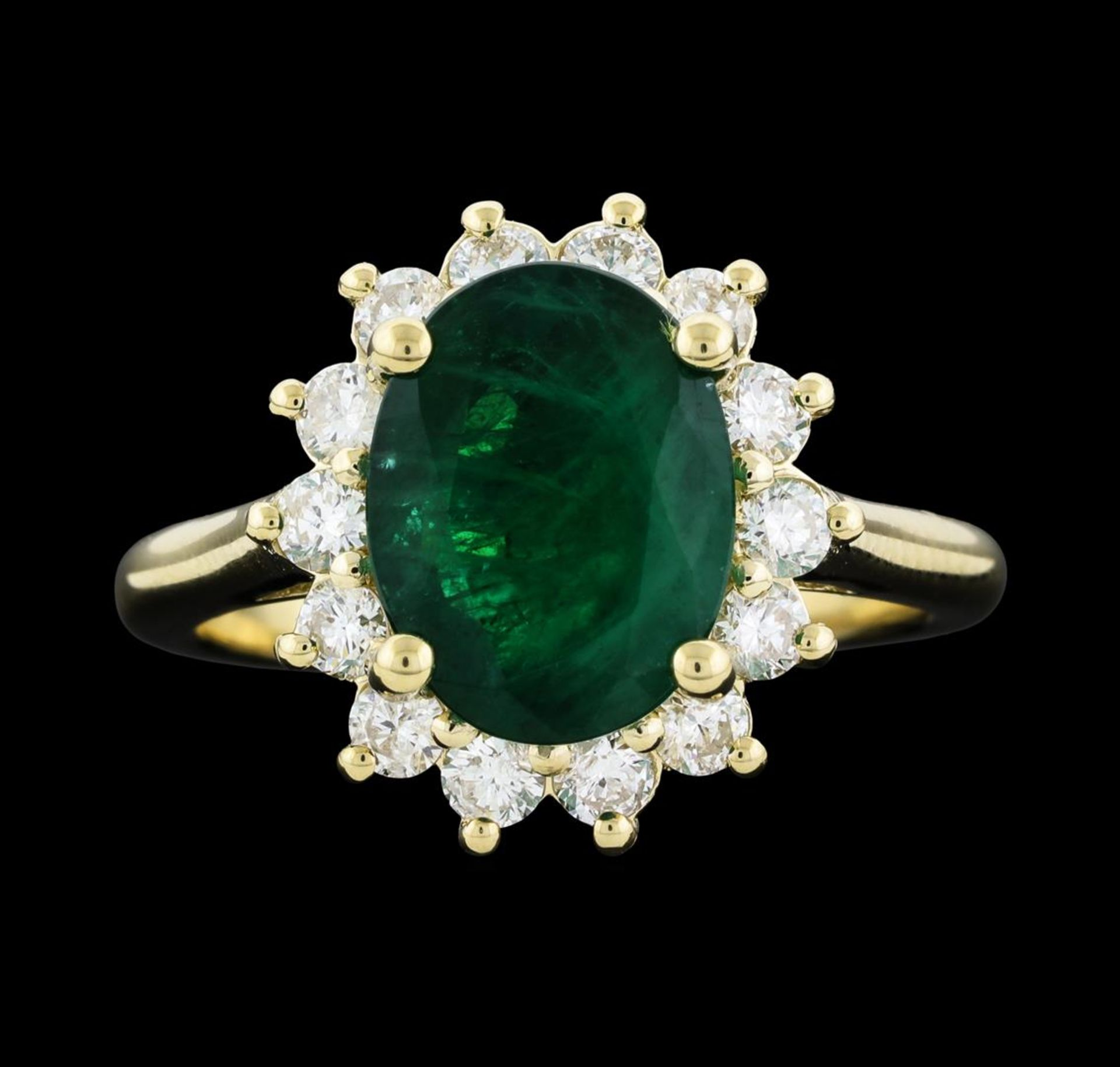 3.40 ctw Emerald and Diamond Ring - 14KT Yellow Gold - Image 2 of 5