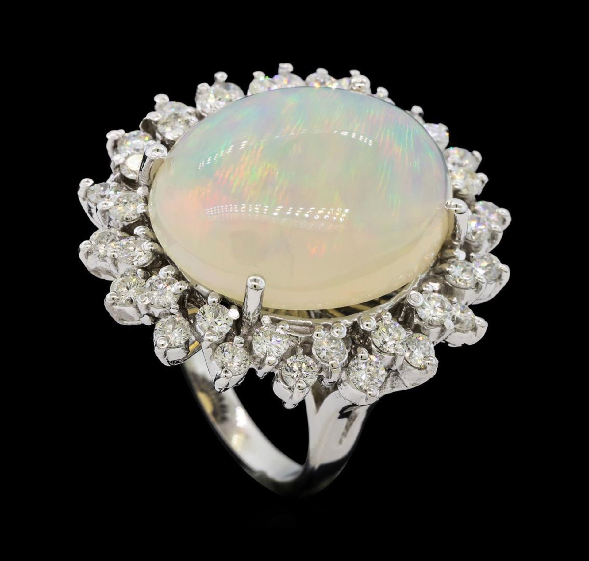 12.57 ctw Opal and Diamond Ring - 14KT White Gold - Image 4 of 5