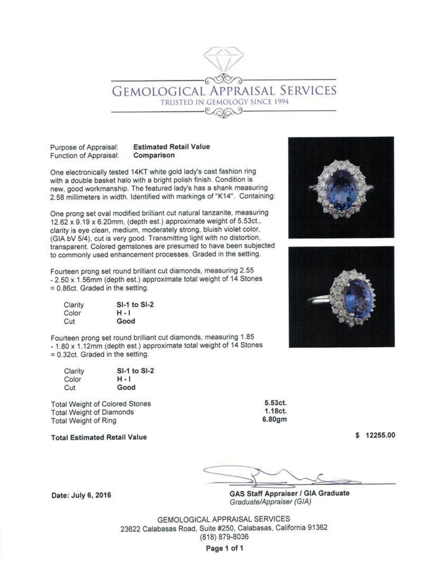 5.53 ctw Tanzanite and Diamond Ring - 14KT White Gold - Image 5 of 5