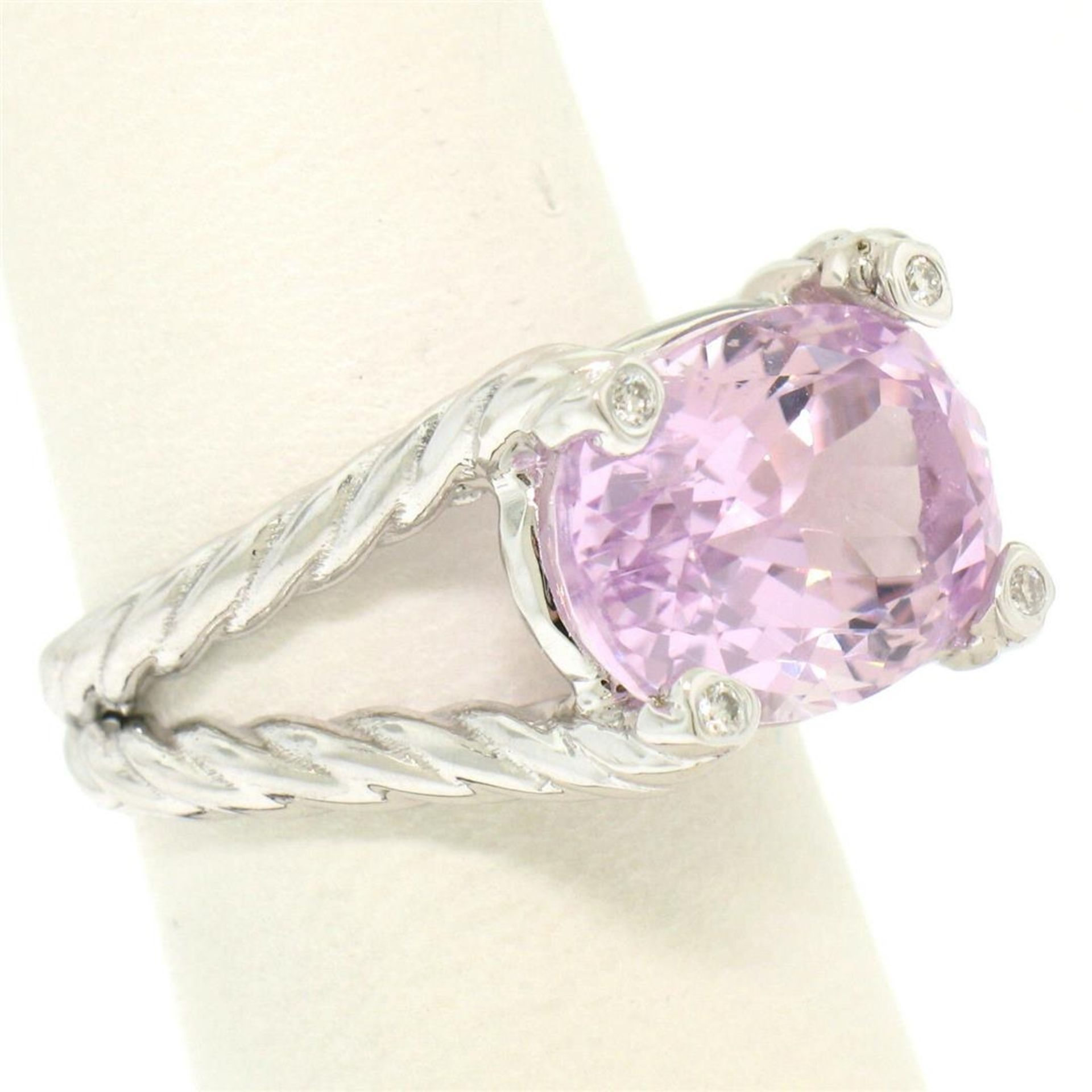 14k White Gold Twisted Cable 8.5 ctw Oval Kunzite Solitaire Ring 4 Diamond Accen - Image 3 of 8