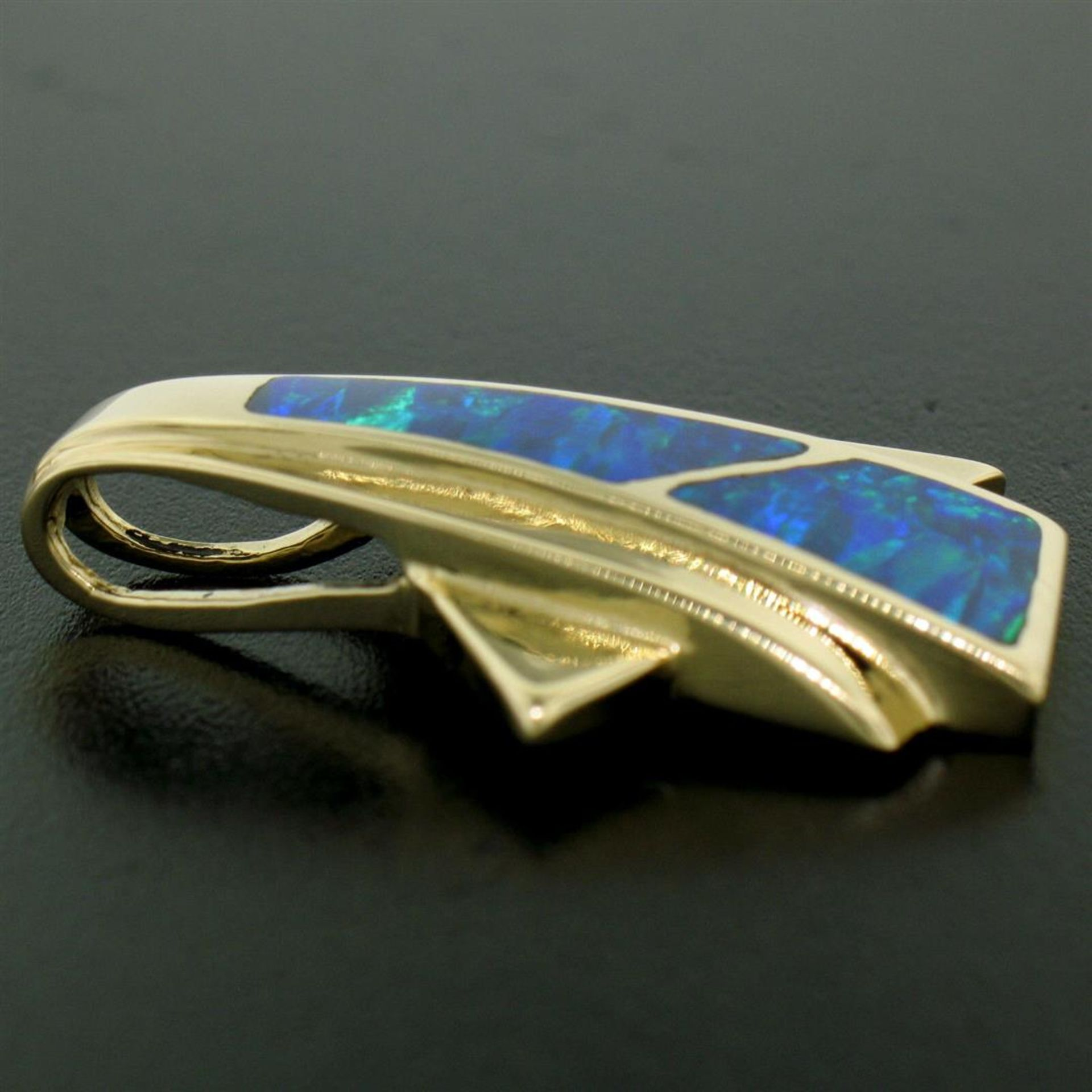 14k Yellow Gold 2 Inlaid Freeform Geometric Blue & Green Boulder Opal Pendant - Image 5 of 7