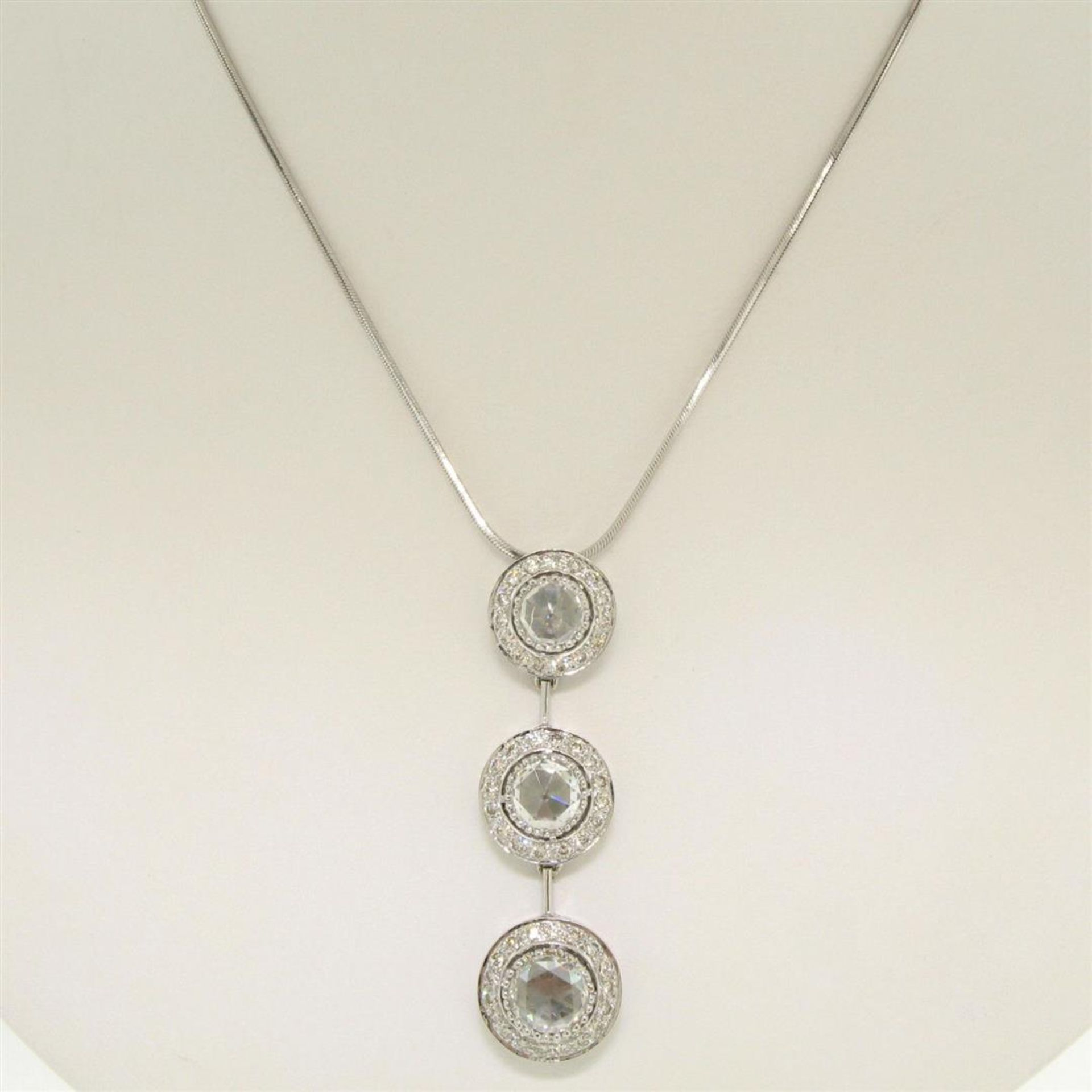 Vintage 18K White Gold 2.59 ctw 3 Rose Cut Diamond Drop Pendant w/ Triple Halo - Image 4 of 9