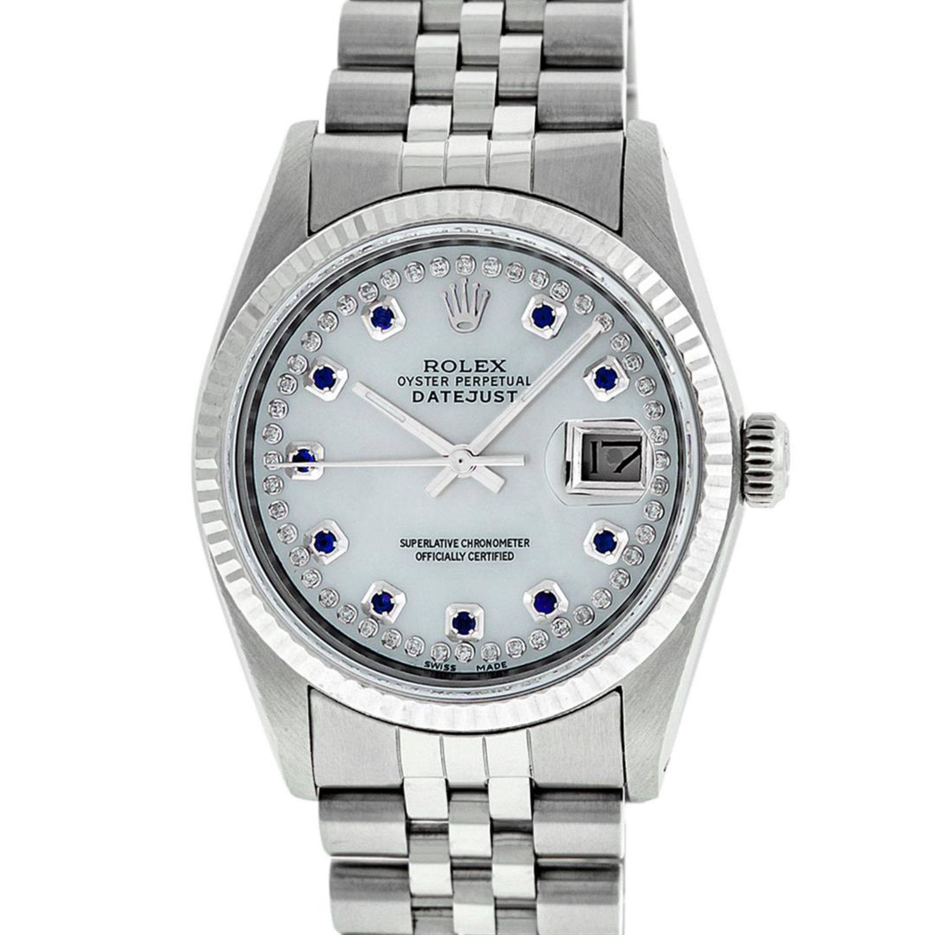 Rolex Mens Stainless Steel Mother Of Pearl Diamond & Sapphire Datejust Wristwatc - Image 2 of 8