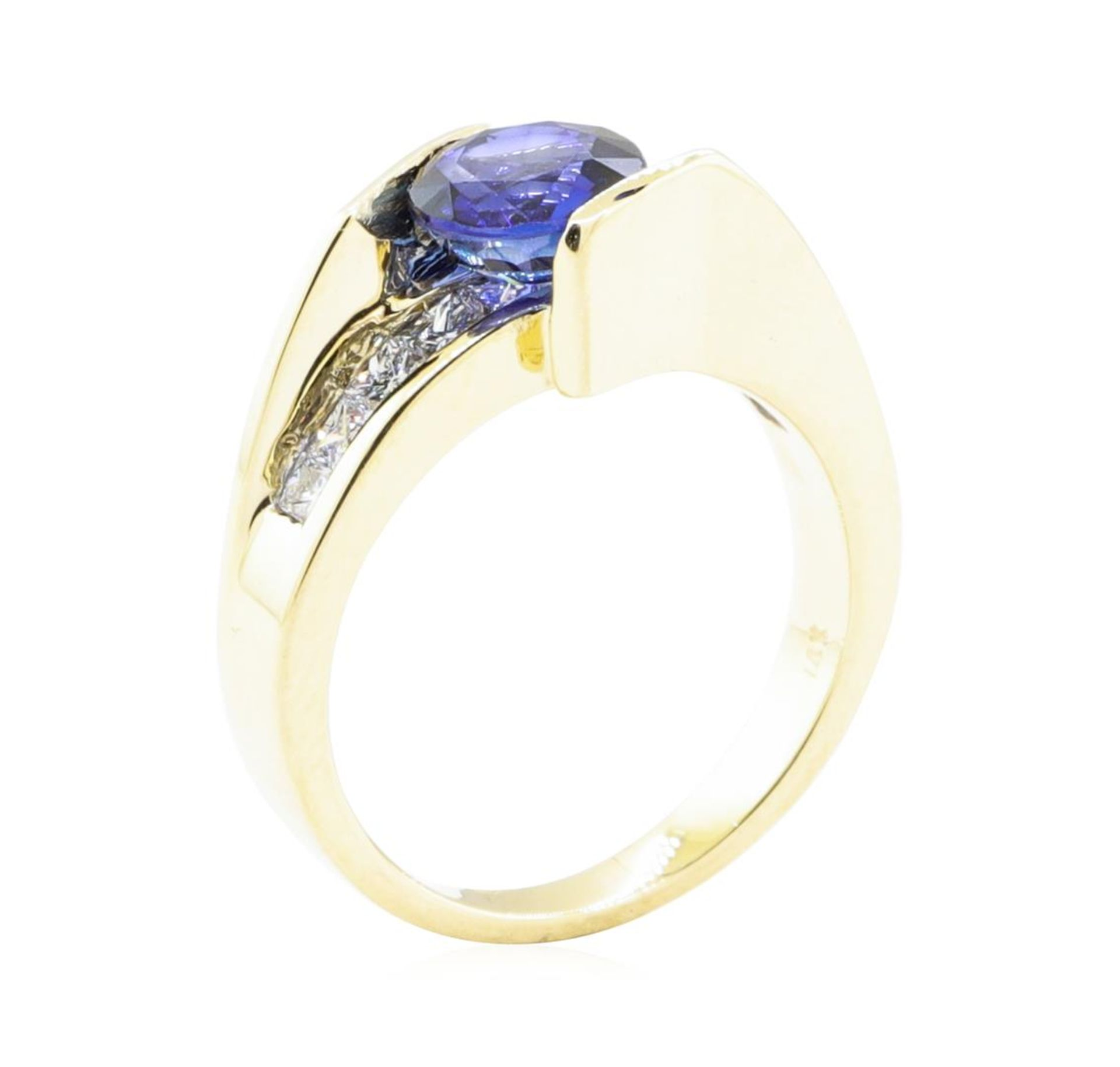 2.14 ctw Sapphire And Diamond Ring - 14KT Yellow Gold - Image 4 of 5