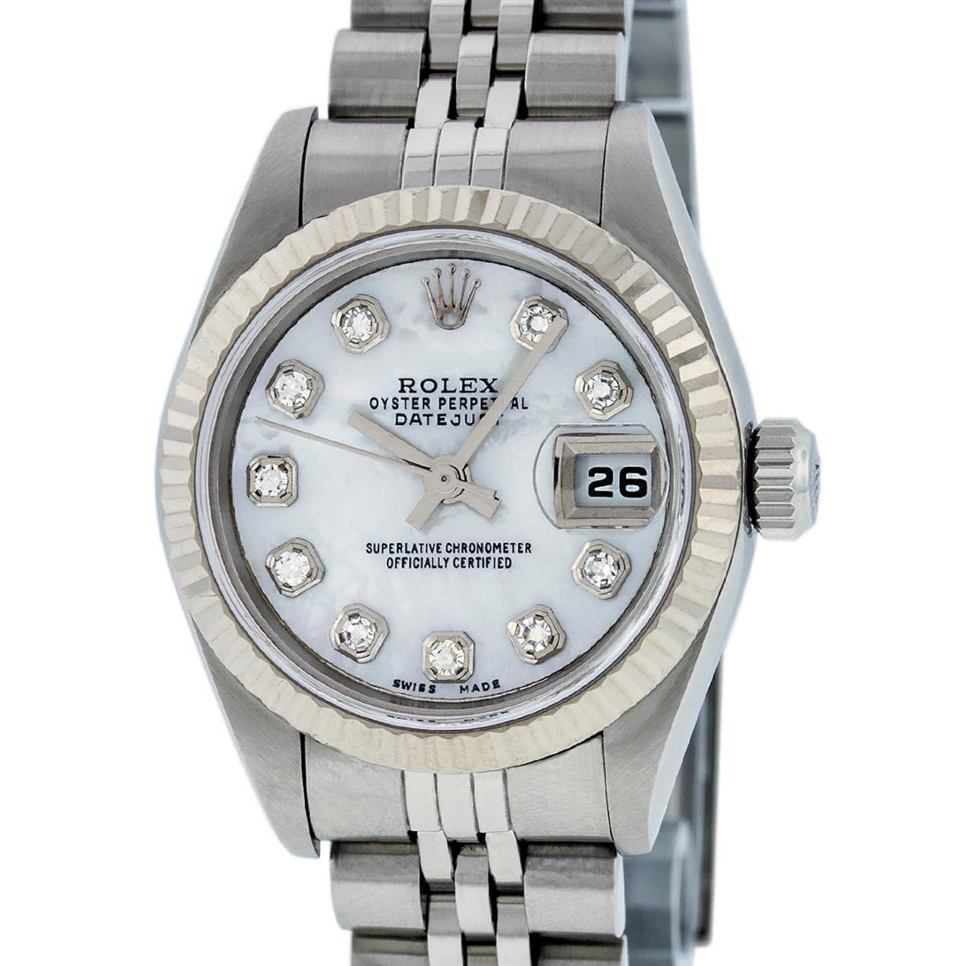 Rolex Ladies Stainless Steel Mother Of Pearl Diamond Quickset Datejust Wristwatc - Image 2 of 9