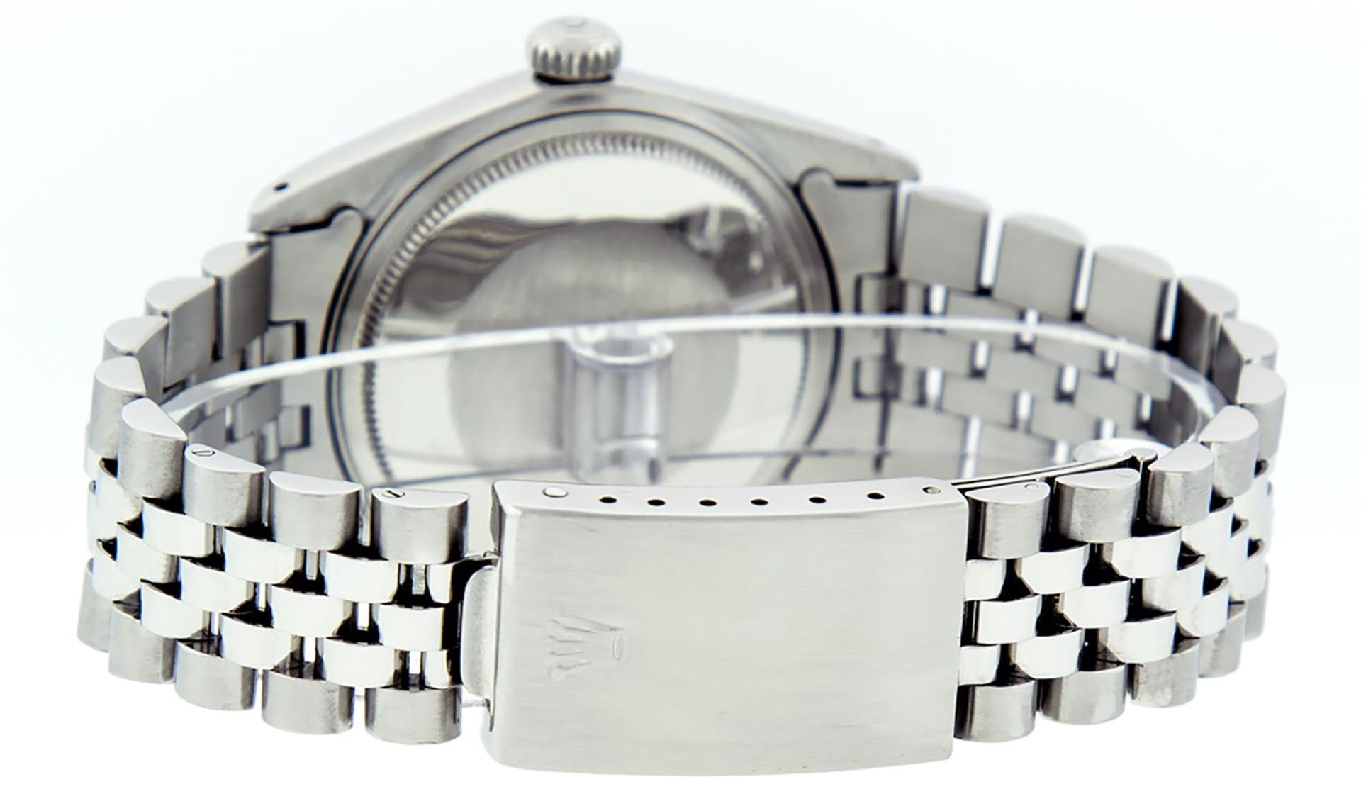 Rolex Mens Stainless Steel Mother Of Pearl Diamond & Sapphire Datejust Wristwatc - Image 5 of 8