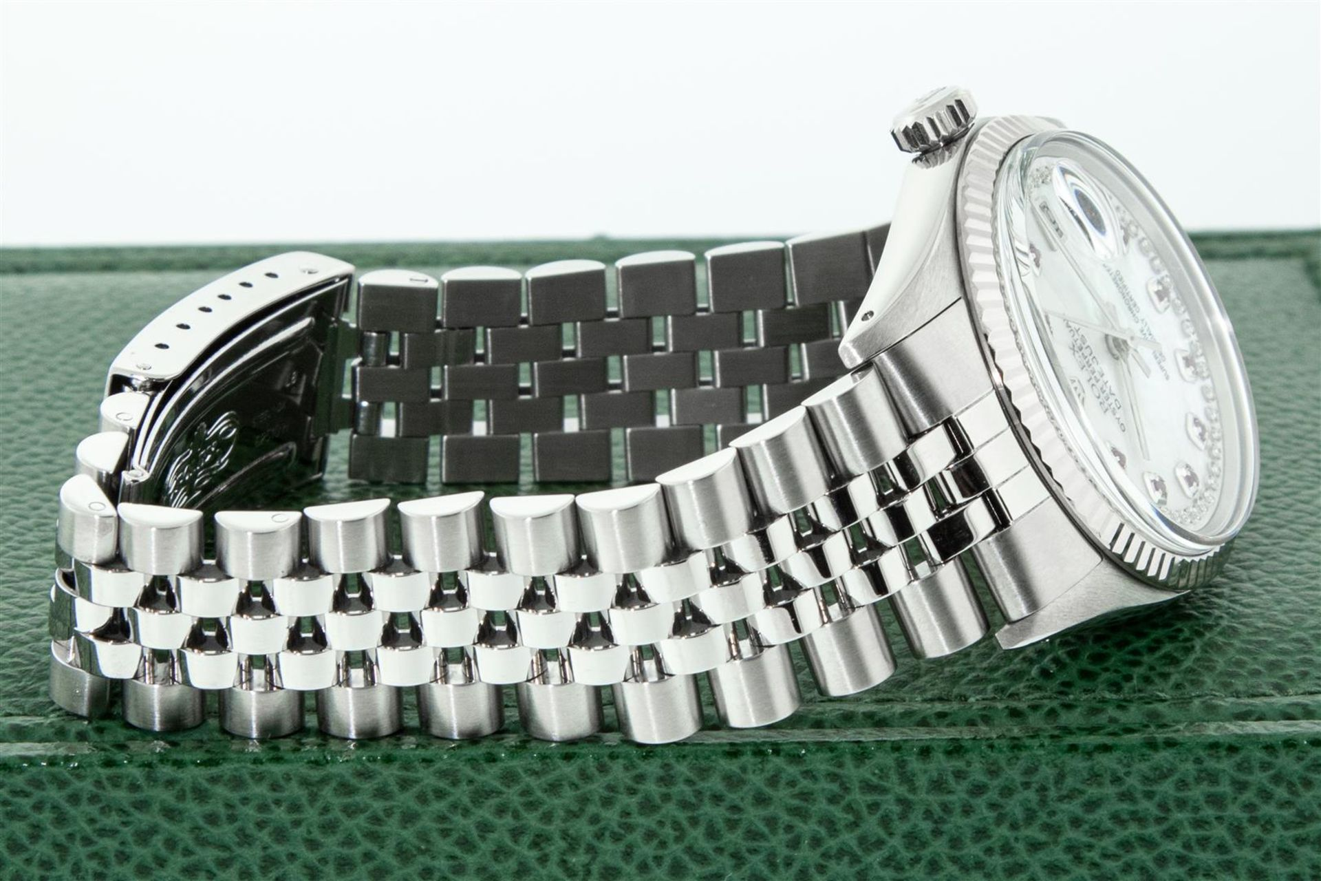 Rolex Mens Stainless Steel Mother Of Pearl Diamond & Ruby Datejust Wristwatch Wi - Image 4 of 8