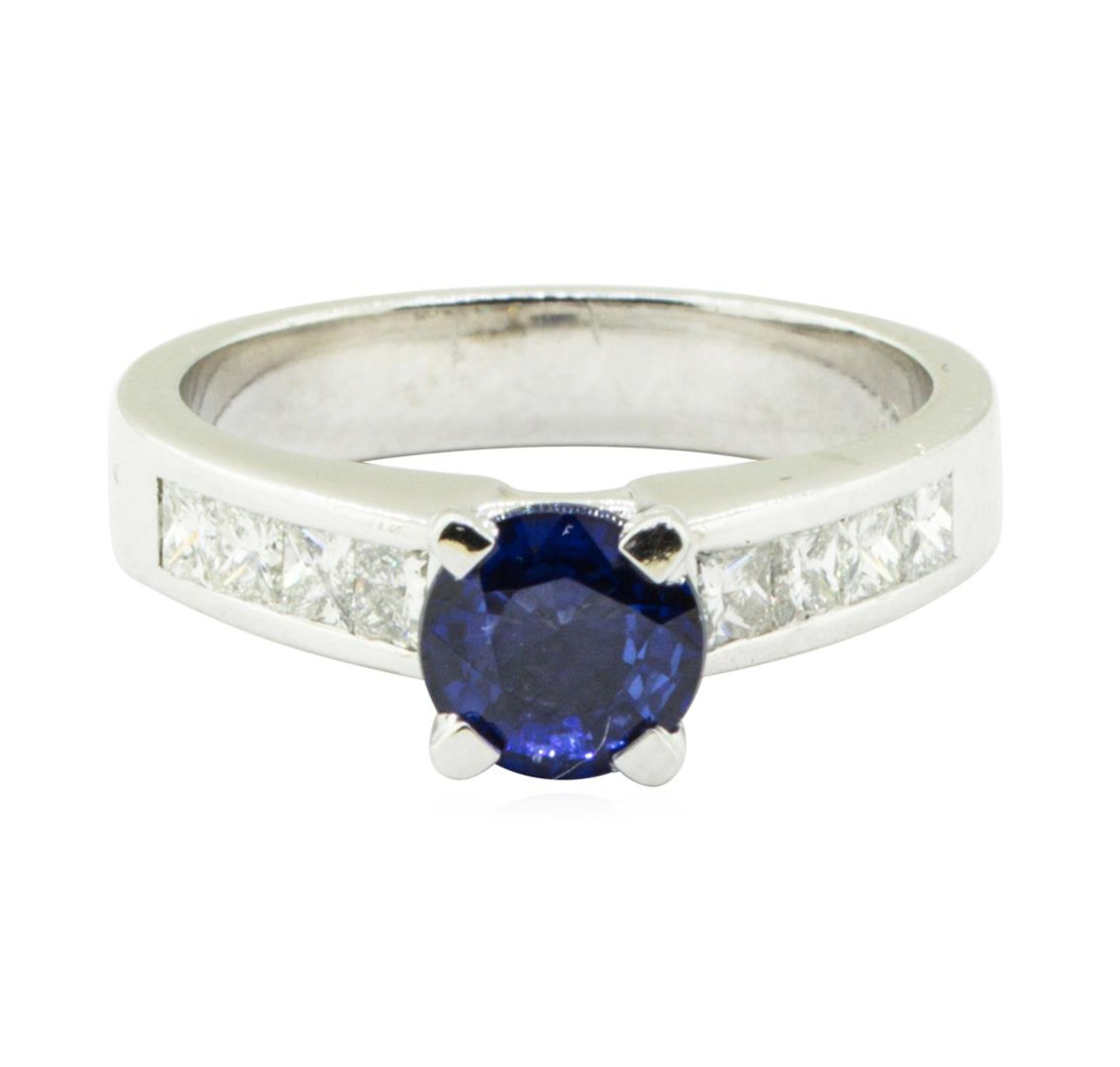 2.01 ctw Round Mixed Blue Sapphire And Diamond Ring - Platinum - Image 2 of 5