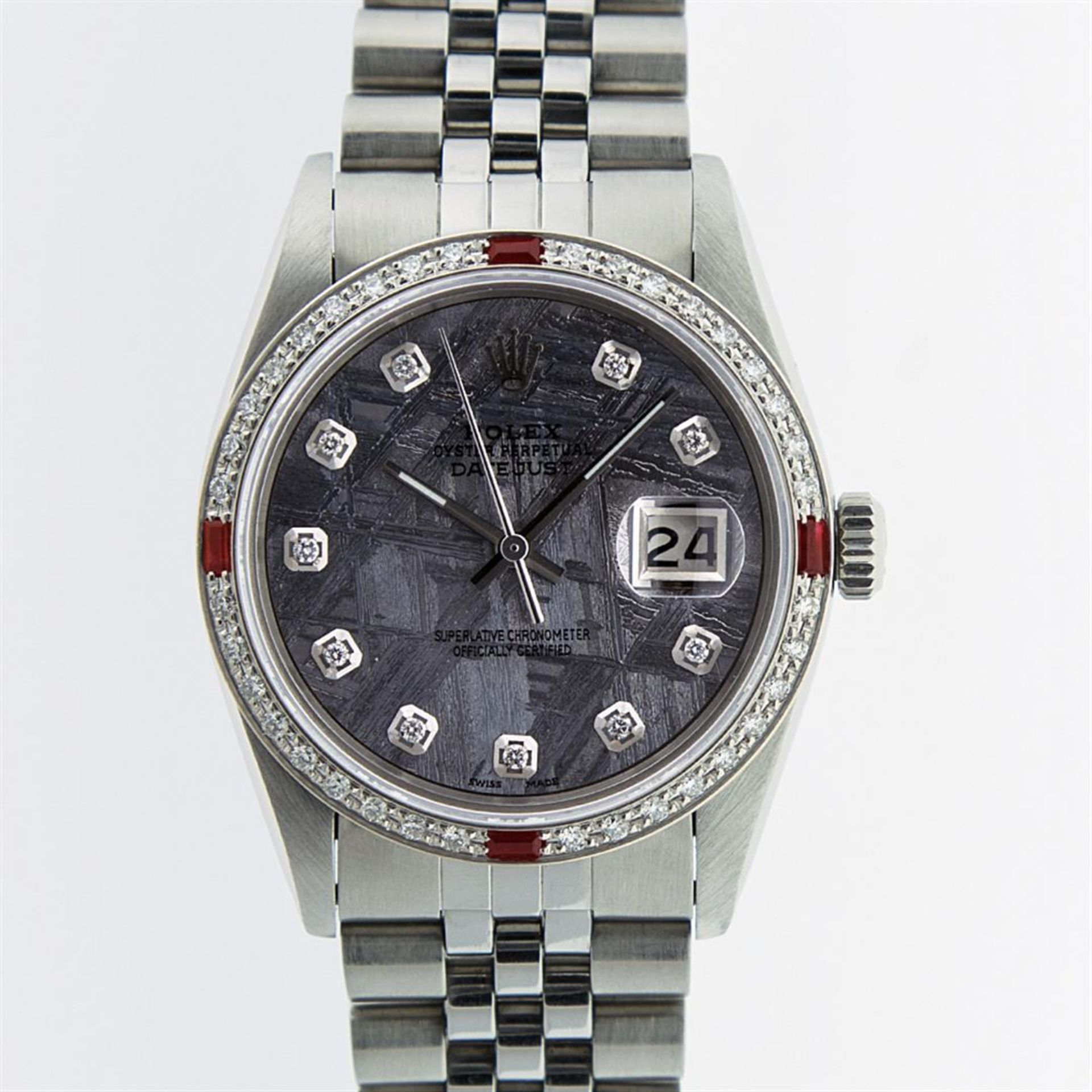 Rolex Mens Stainless Steel Meteorite Diamond And Ruby Datejust Wristwatch 36MM - Image 6 of 9