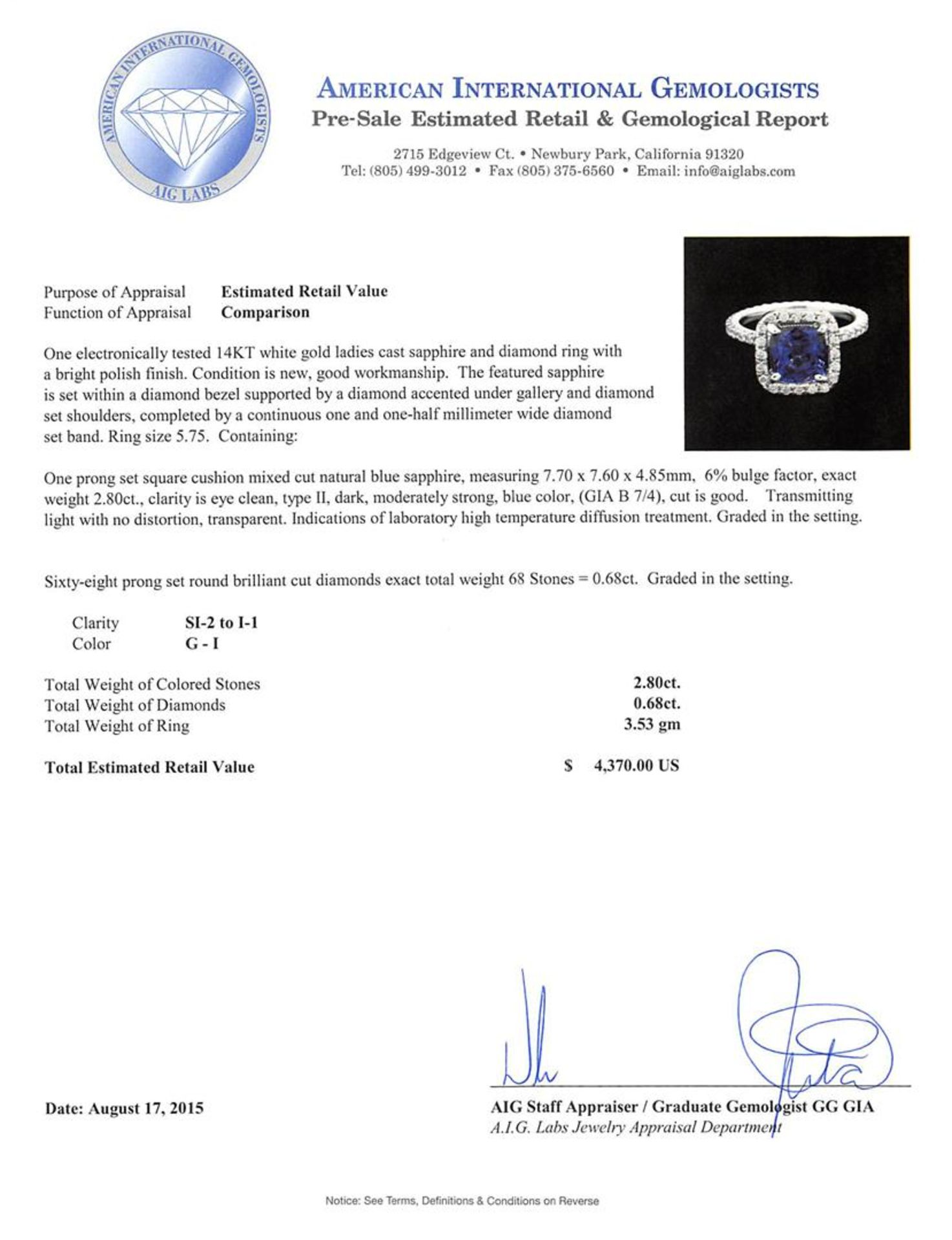 2.80 ctw Blue Sapphire and Diamond Ring - 14KT White Gold - Image 3 of 3