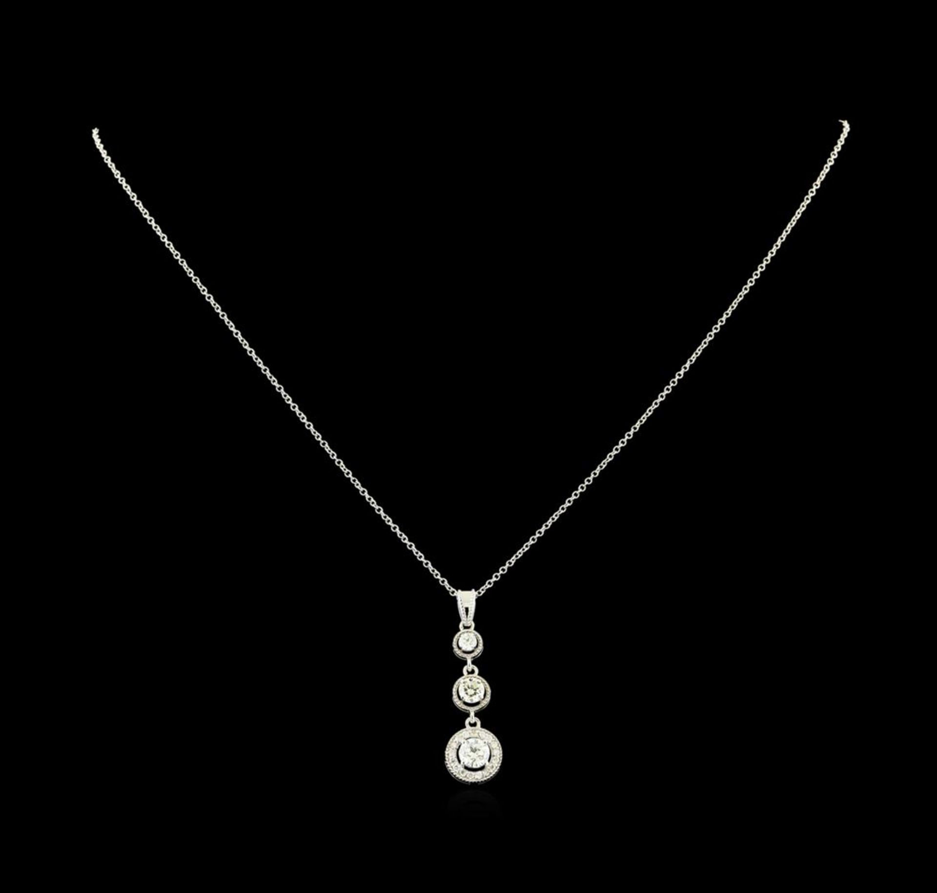 1.06 ctw Diamond Pendant With Chain - 14KT White Gold - Image 2 of 4