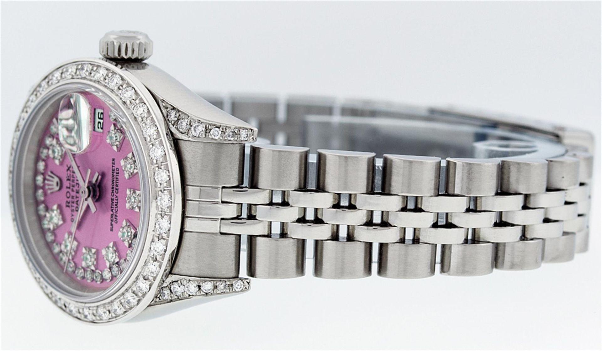 Rolex Ladies Stainless Steel Quickset Pink String Diamond Lugs Datejust Wristwat - Image 2 of 9