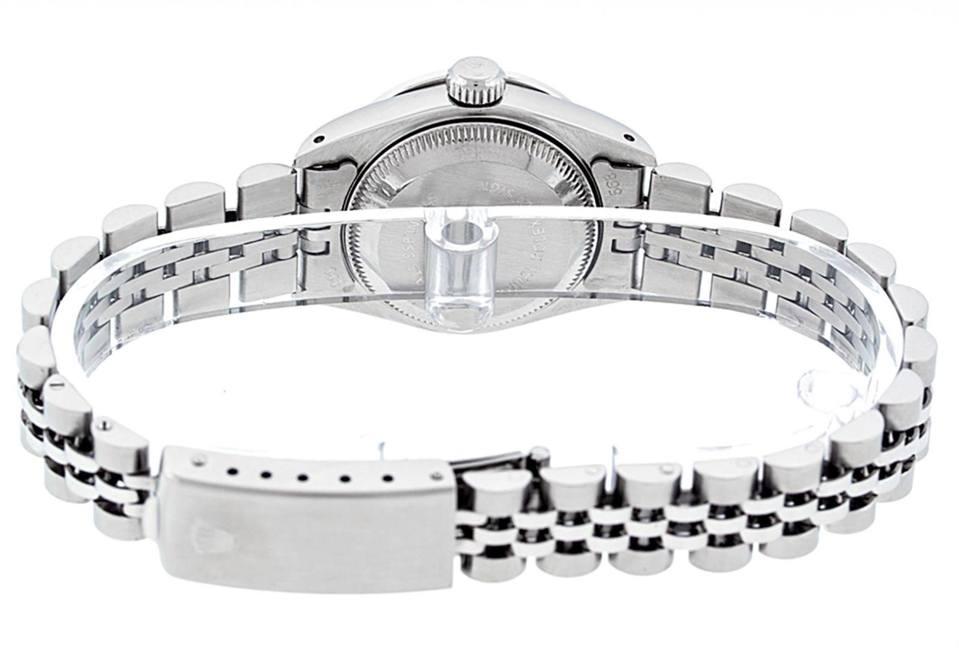 Rolex Ladies Stainless Steel 26MM Purple String Diamond Lugs Datejust Wristwatch - Image 4 of 9