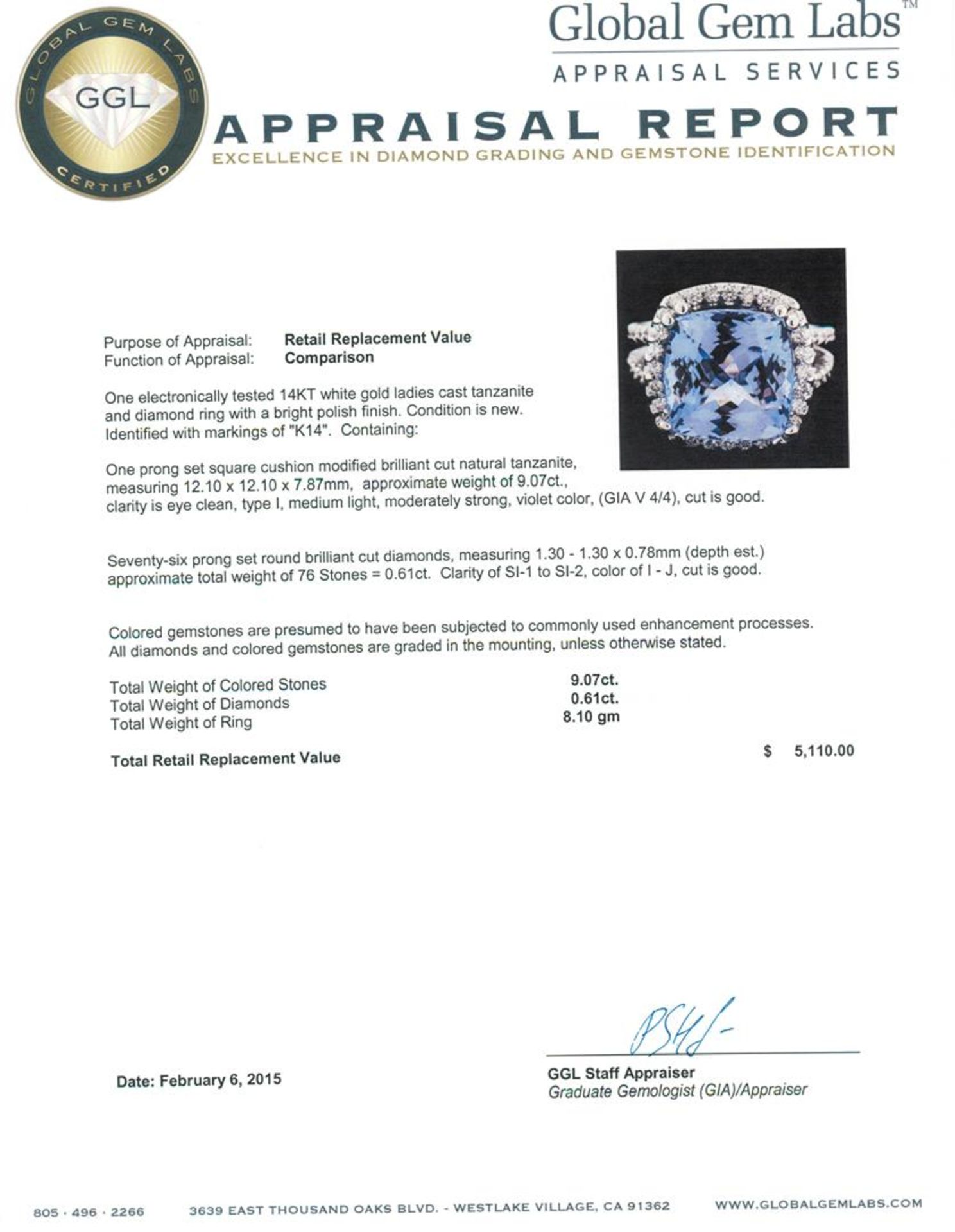 14KT White Gold 9.07 ctw Tanzanite and Diamond Ring - Image 5 of 5