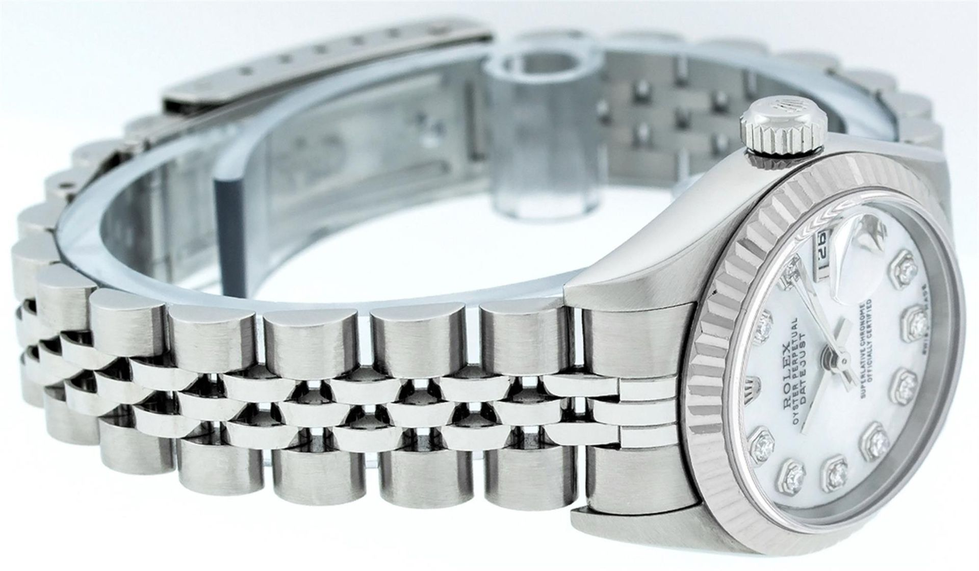 Rolex Ladies Stainless Steel Mother Of Pearl Diamond Quickset Datejust Wristwatc - Image 4 of 9