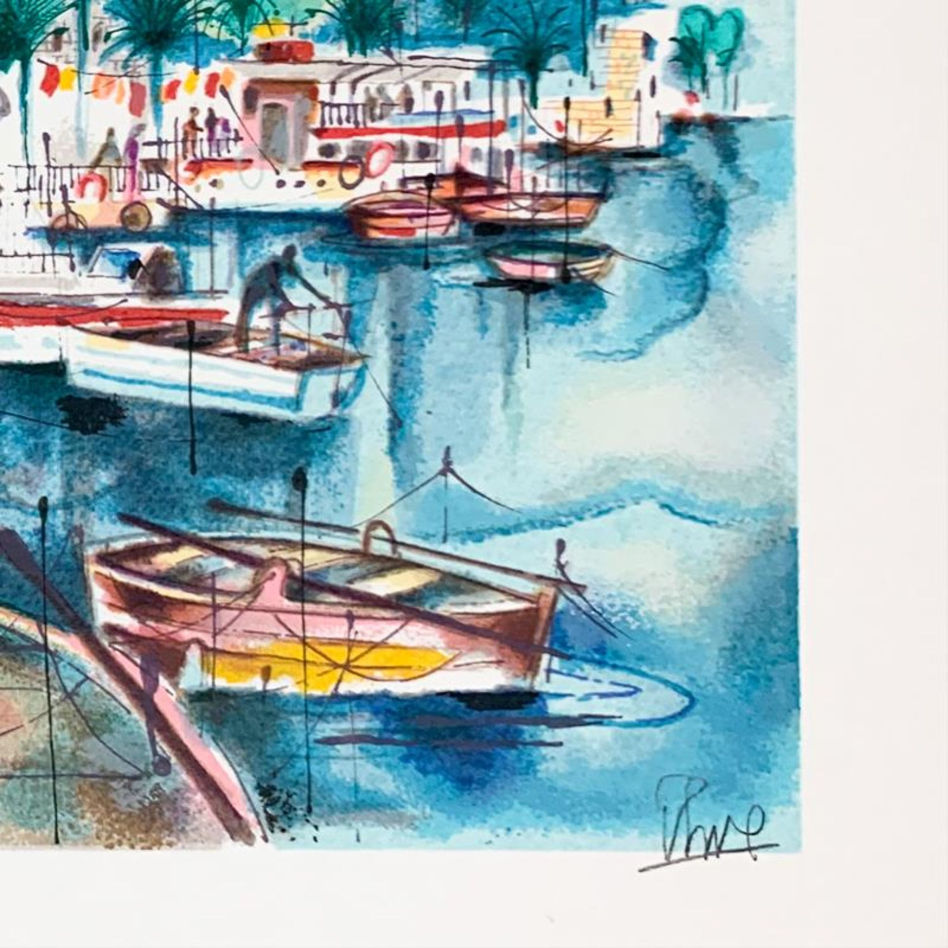 """Shmuel Katz (1926-2010), """"Tiberias"""" Hand Signed Limited Edition Serigraph on Pap - Image 2 of 2"""