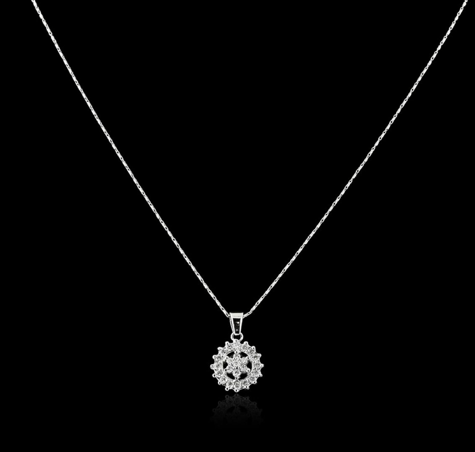 14KT White Gold 0.71 ctw Diamond Pendant With Chain - Image 2 of 3