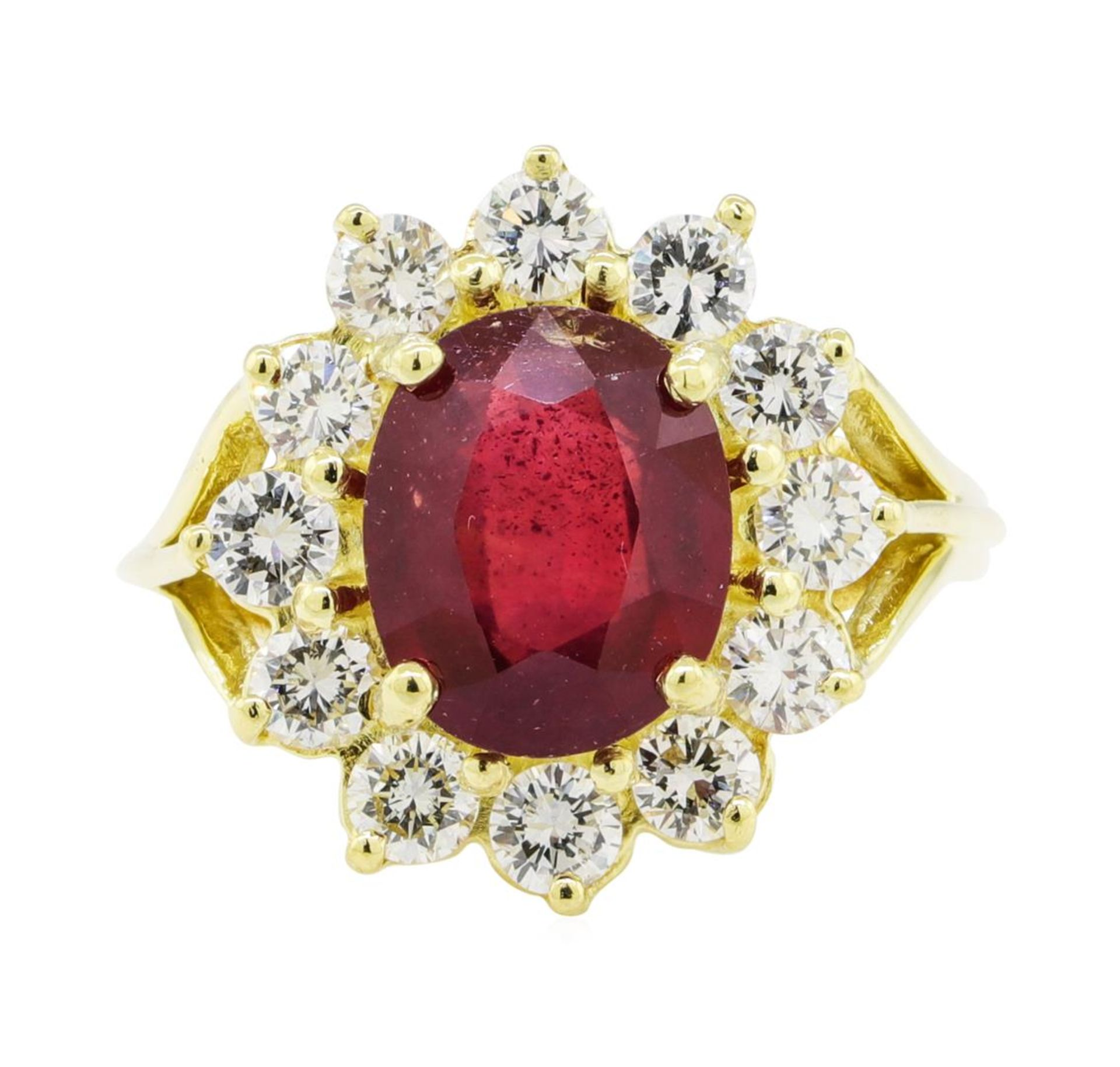 5.51 ctw Ruby and Diamond Ring - 18KT Yellow Gold - Image 2 of 5