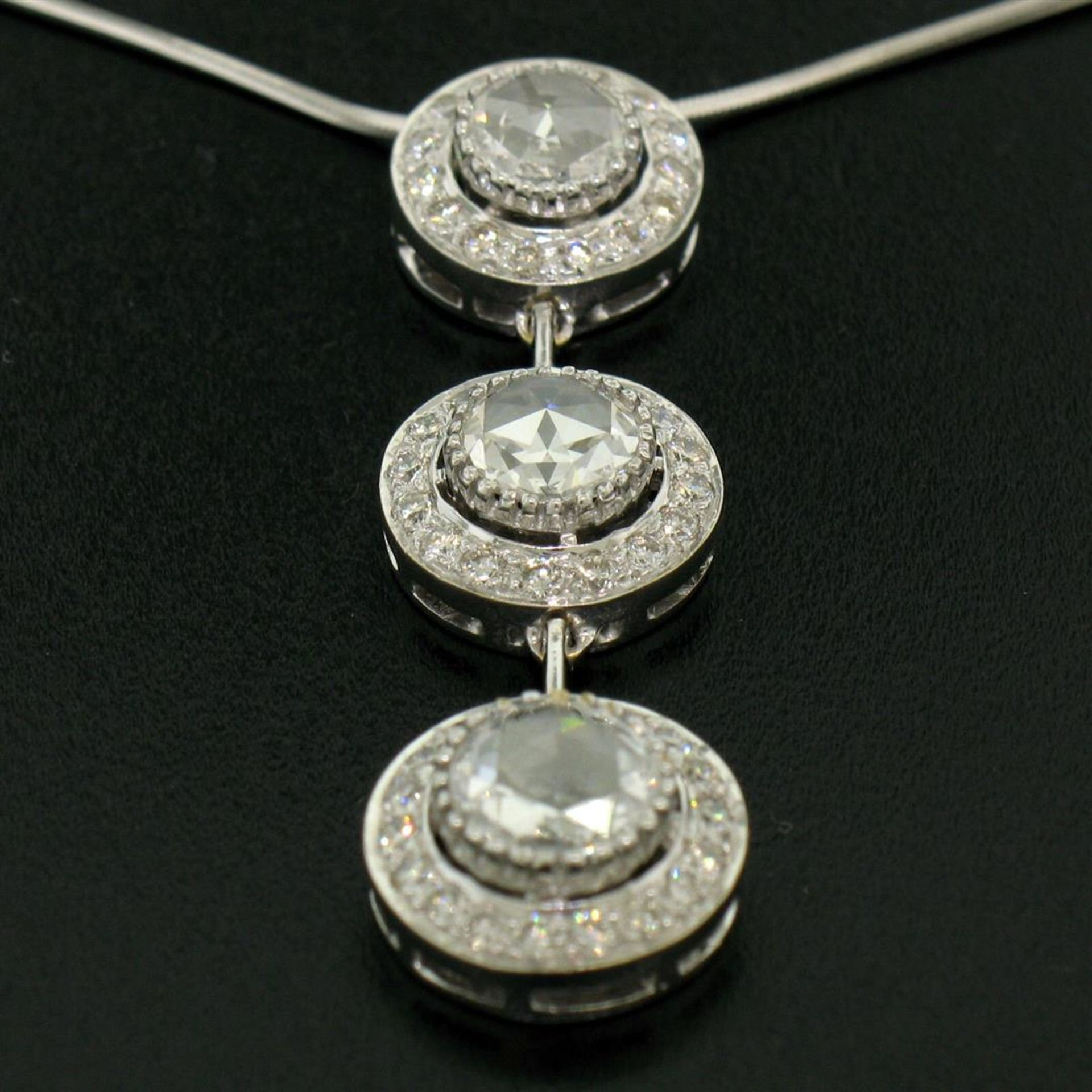 Vintage 18K White Gold 2.59 ctw 3 Rose Cut Diamond Drop Pendant w/ Triple Halo - Image 7 of 9