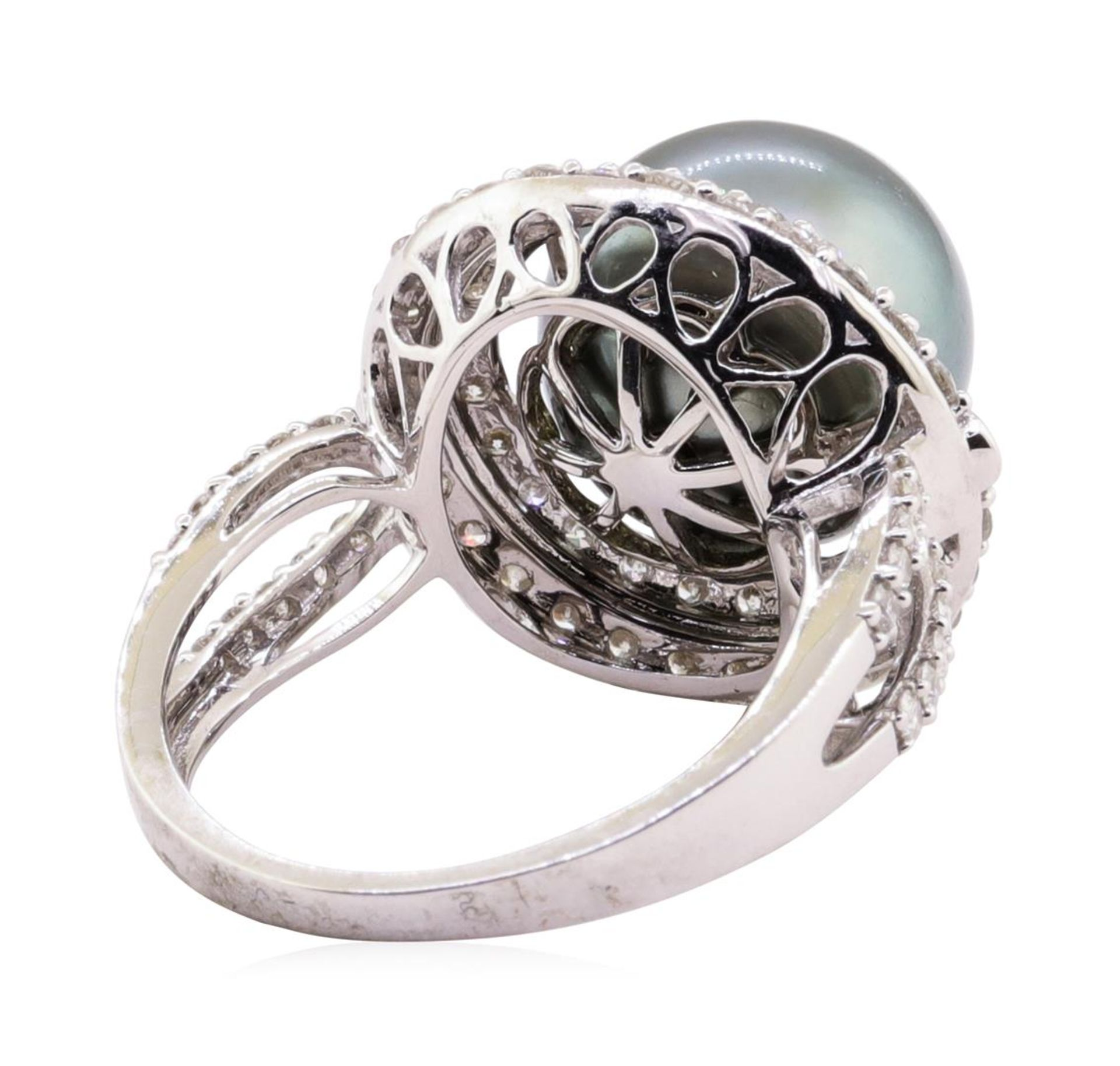 Tahitian Pearl and Diamond Ring - 18KT White Gold - Image 3 of 5