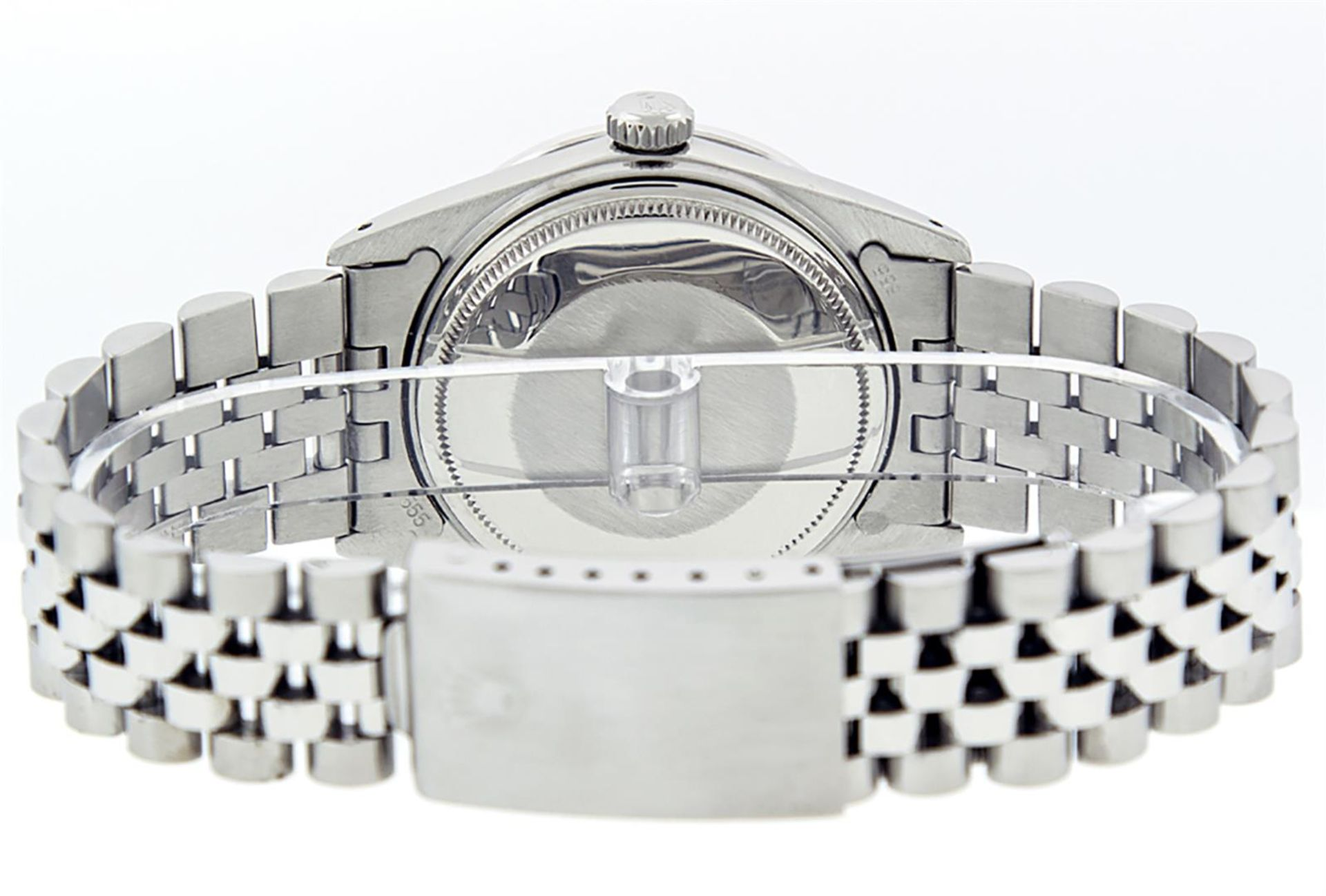 Rolex Mens Stainless Steel Mother Of Pearl Diamond & Sapphire Datejust Wristwatc - Image 6 of 8
