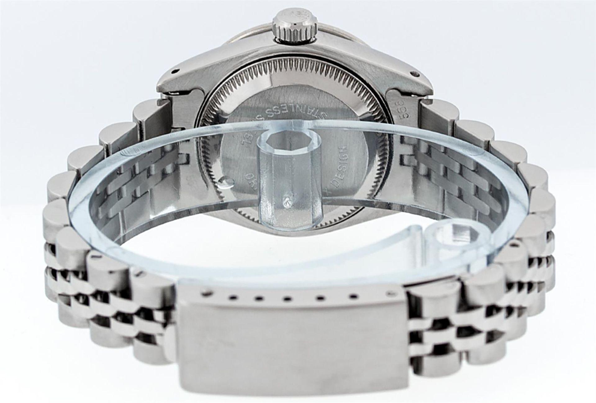 Rolex Ladies Stainless Steel 26MM Purple String Diamond Lugs Datejust Wristwatch - Image 7 of 9