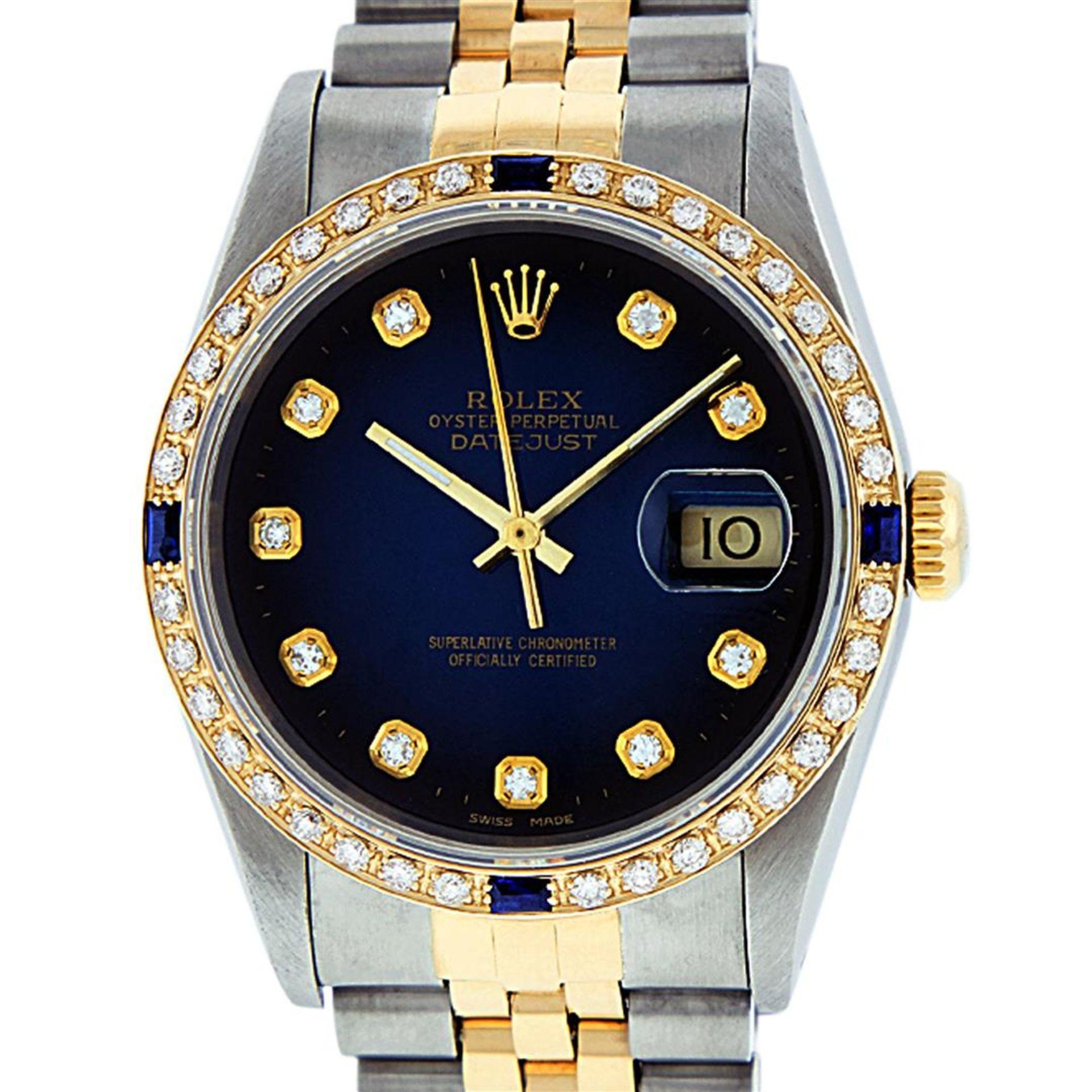Rolex Mens 2 Tone Blue Vignette Diamond & Sapphire Datejust Wristwatch - Image 2 of 9