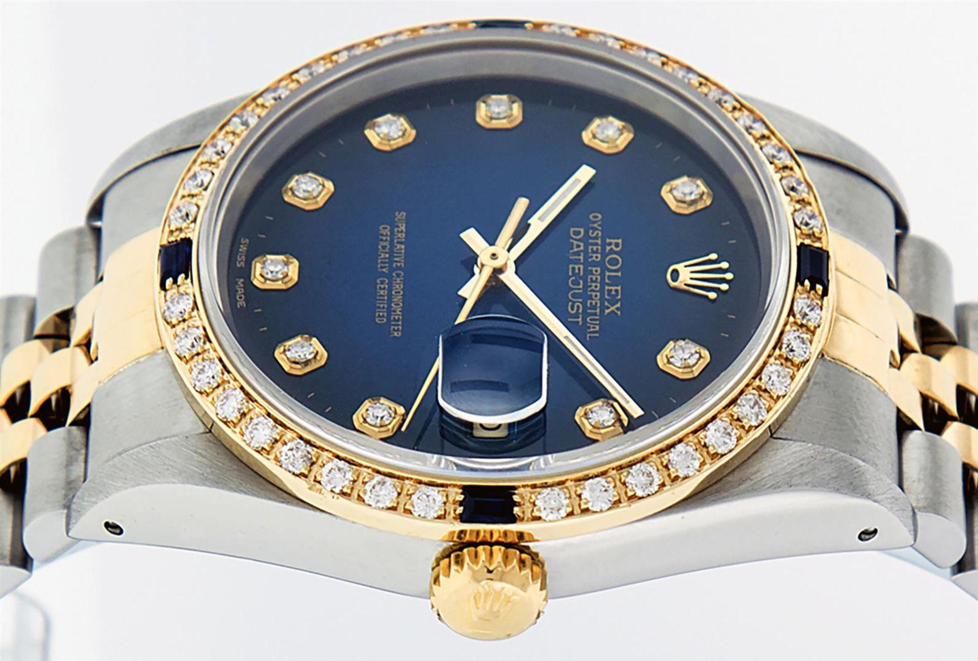 Rolex Mens 2 Tone Blue Vignette Diamond & Sapphire Datejust Wristwatch - Image 4 of 9