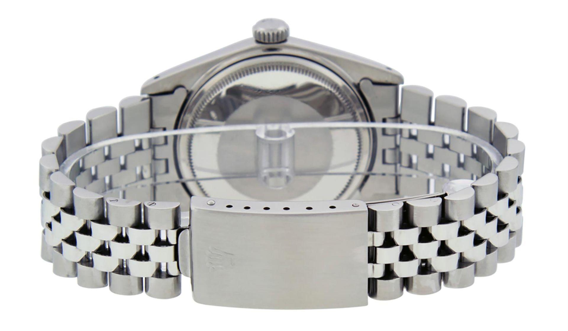 Rolex Mens Stainless Black Diamond 36MM Datejust Wristwatch - Image 6 of 9