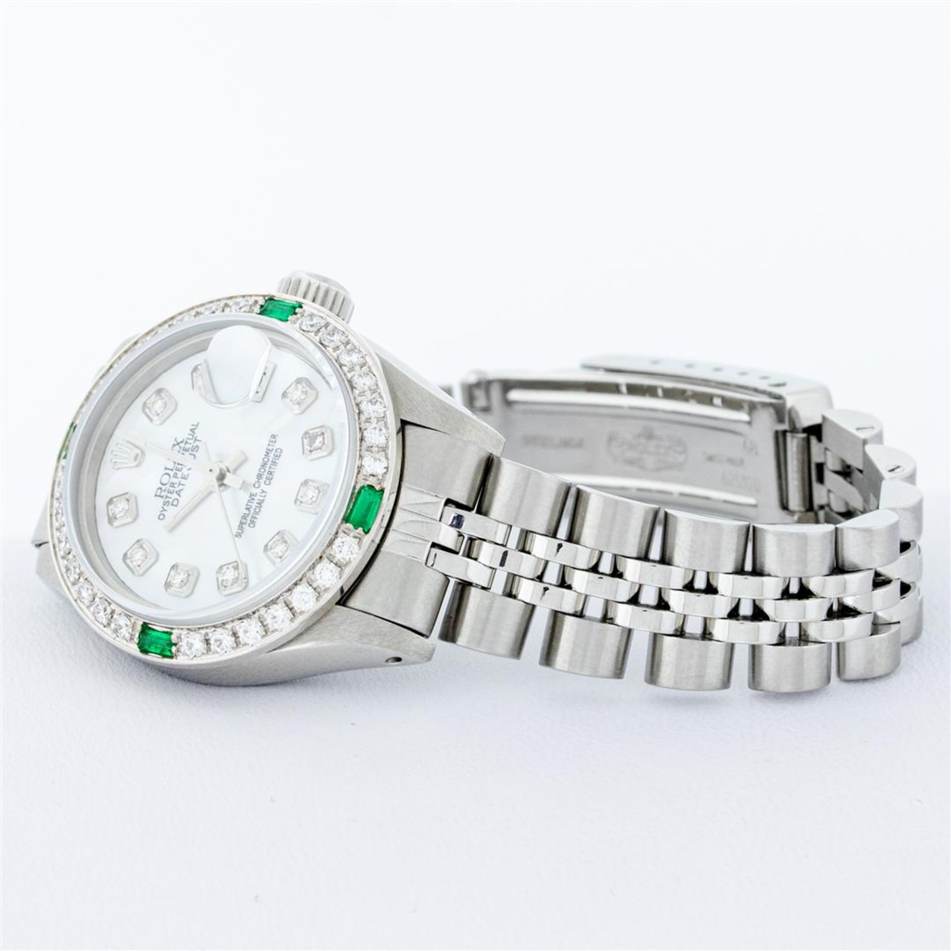 Rolex Ladies Stainless Steel Mother Of Pearl Diamond 26MM Datejust Wristwatch - Image 3 of 9