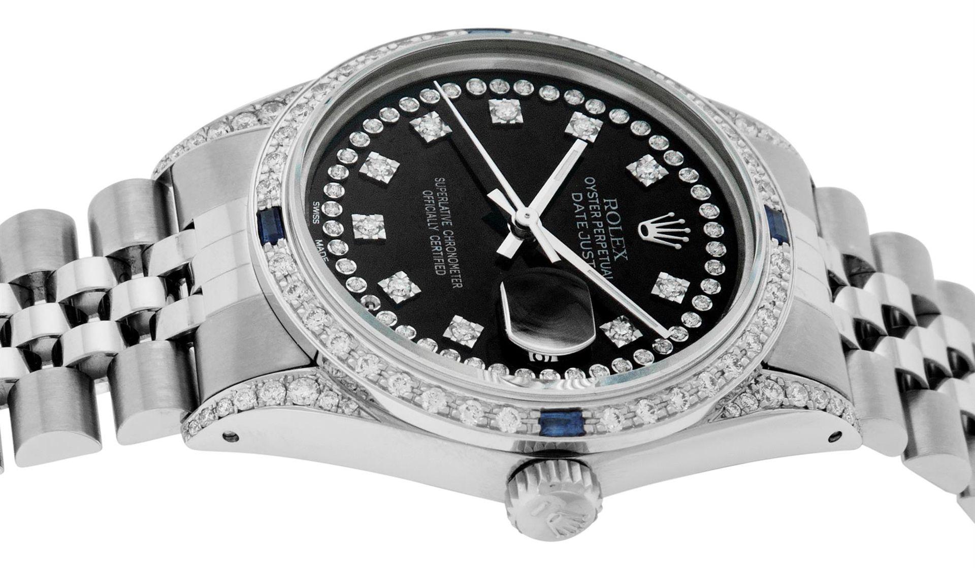 Rolex Mens Stainless Steel Black Diamond Lugs & Sapphire Datejust Wristwatch Oys - Image 9 of 9
