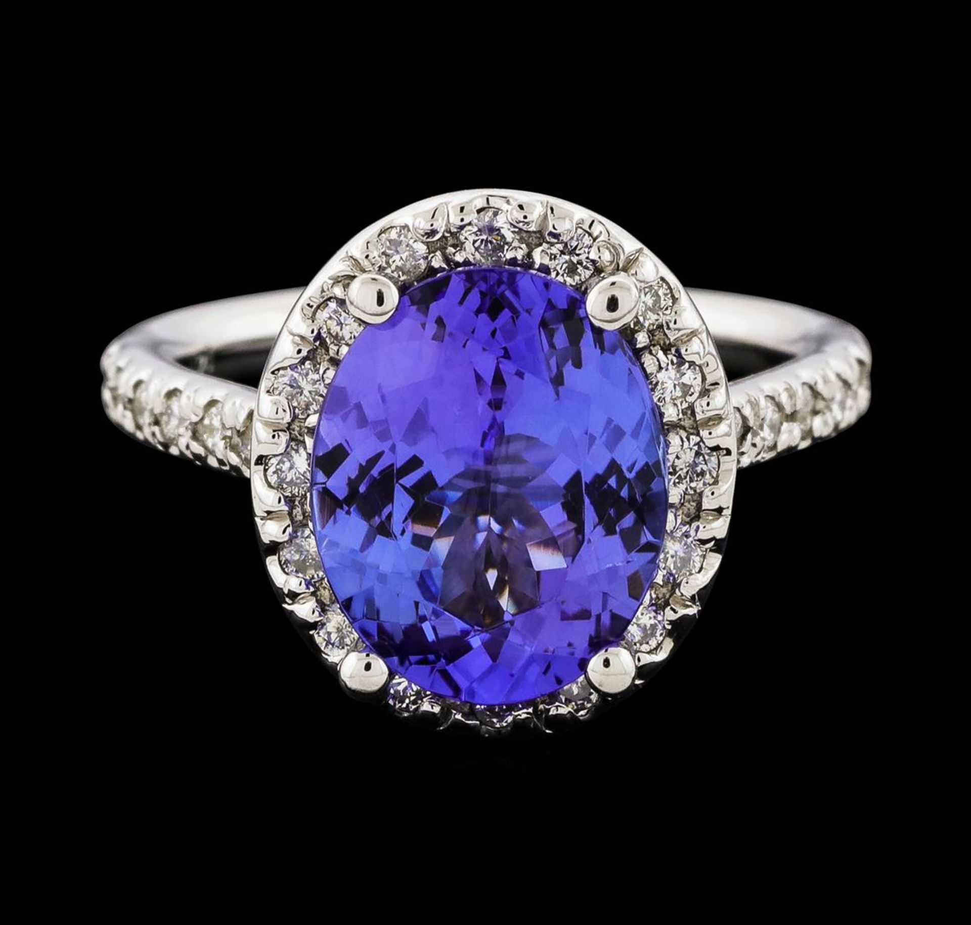 3.25 ctw Tanzanite and Diamond Ring - 14KT White Gold - Image 2 of 4