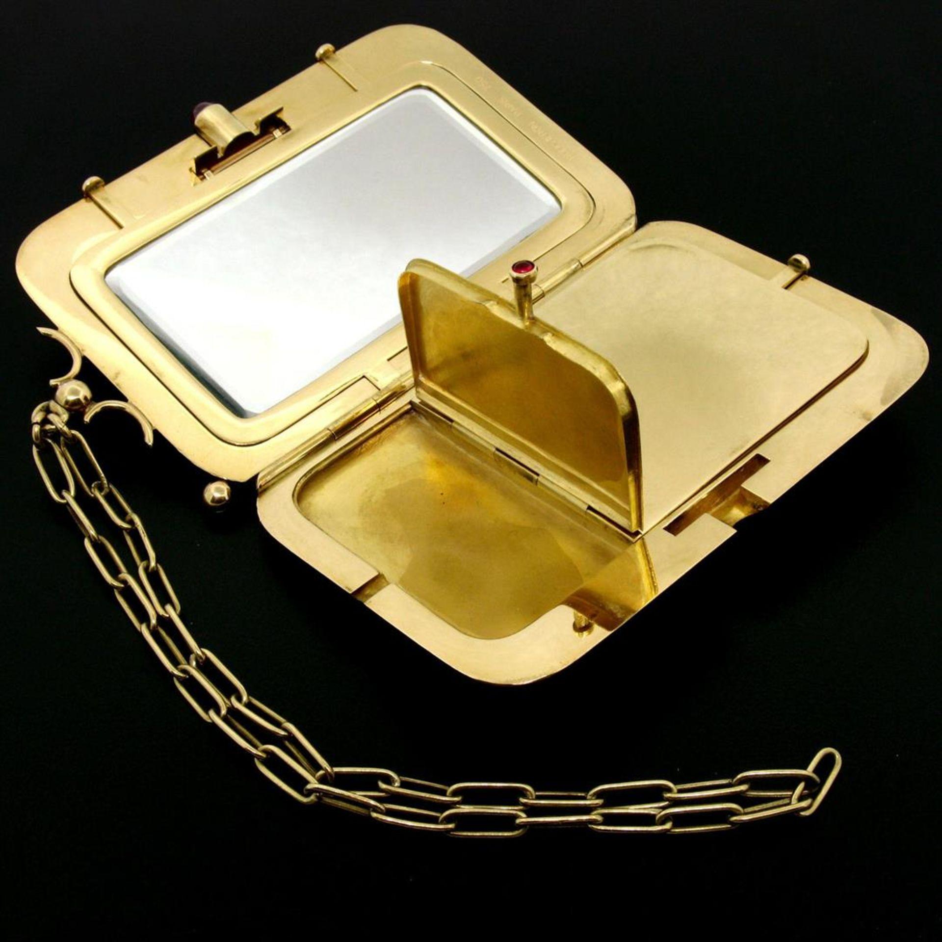 Vintage BOUCHERON Paris 18k Tri Color Gold Ruby Compact Powder Case - Image 6 of 9