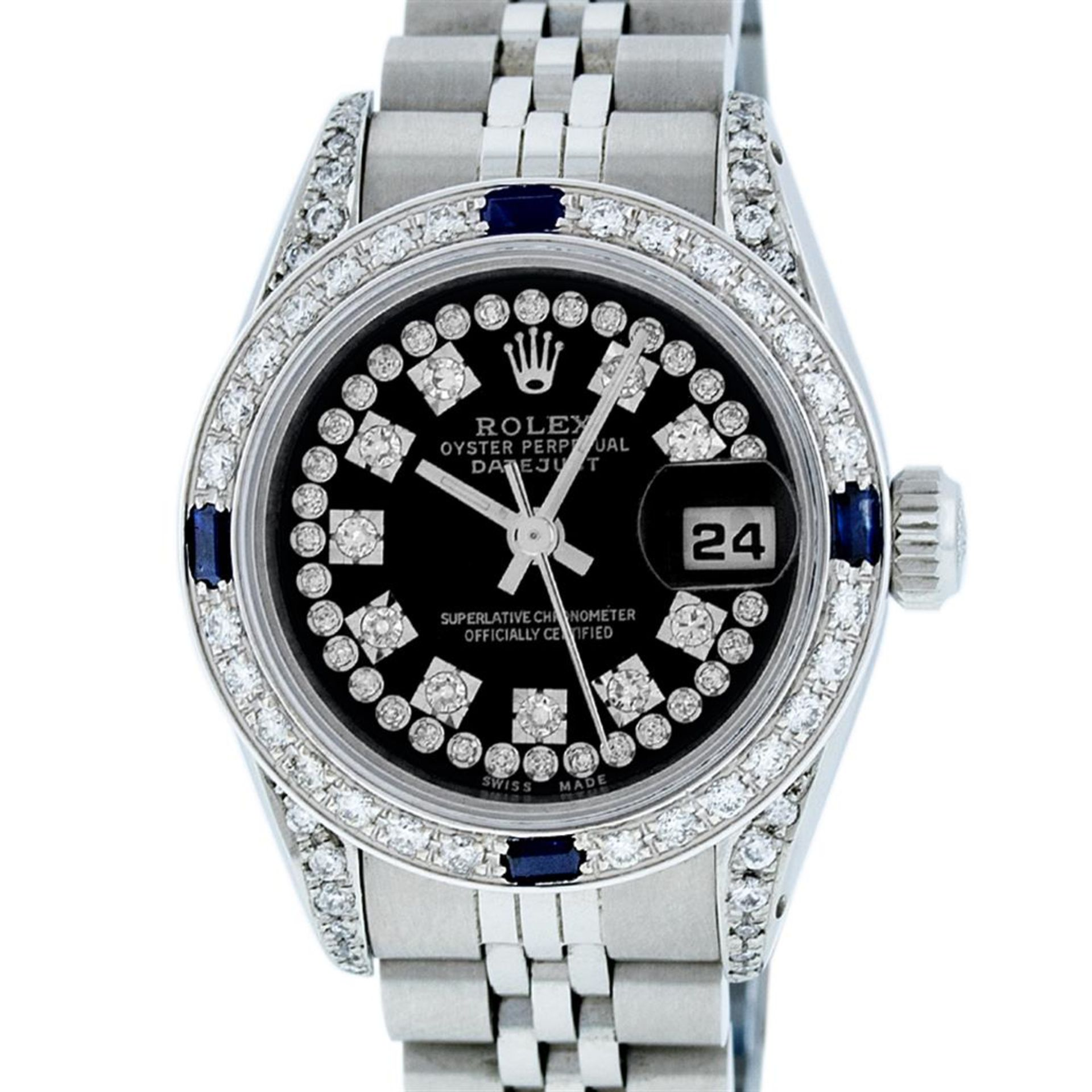 Rolex Ladies Stainless Steel 26MM Black String Diamond Lugs Datejust Wristwatch - Image 2 of 9
