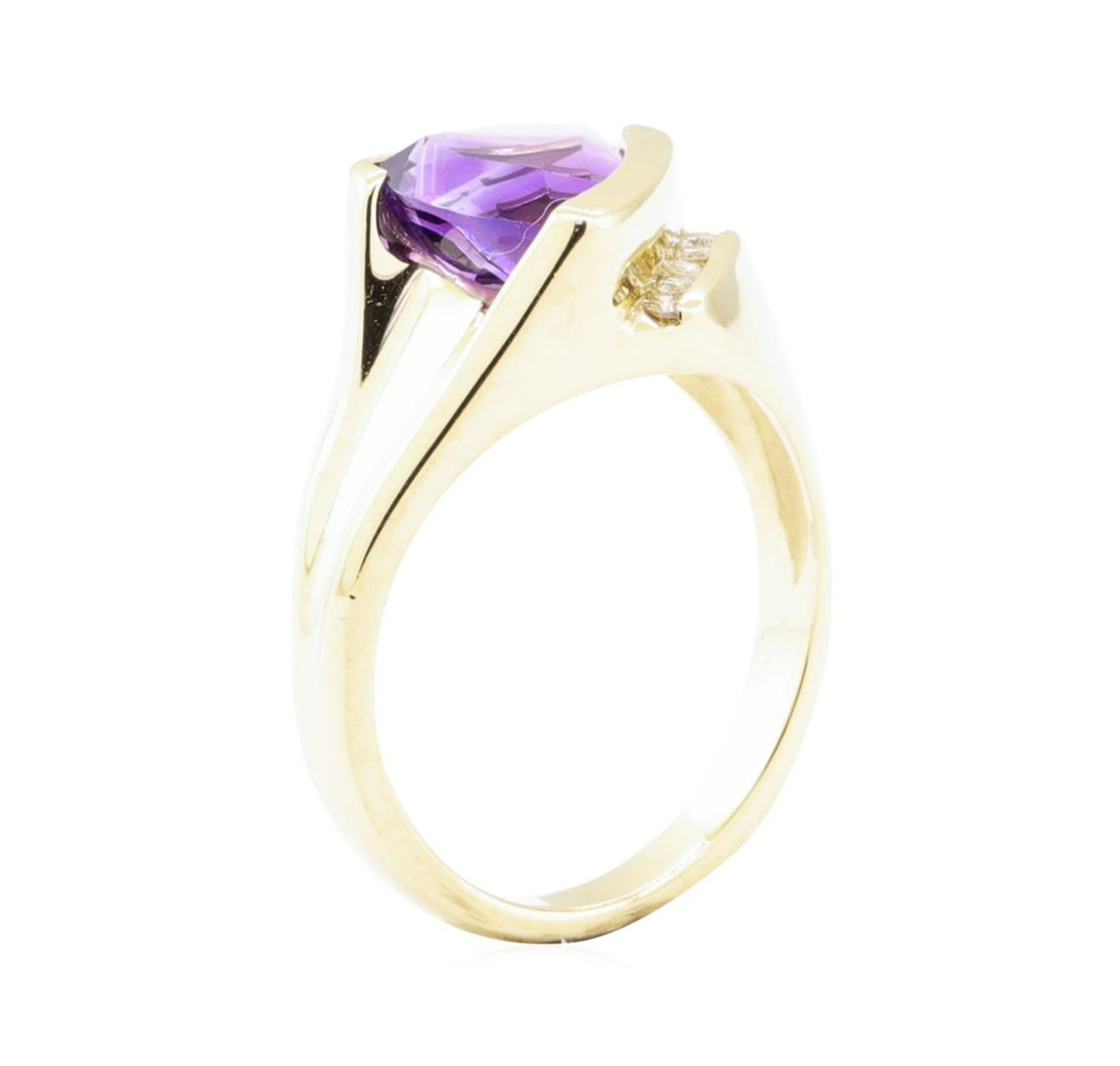 1.70 ctw Amethyst and Diamond Ring - 14KT Yellow Gold - Image 4 of 4