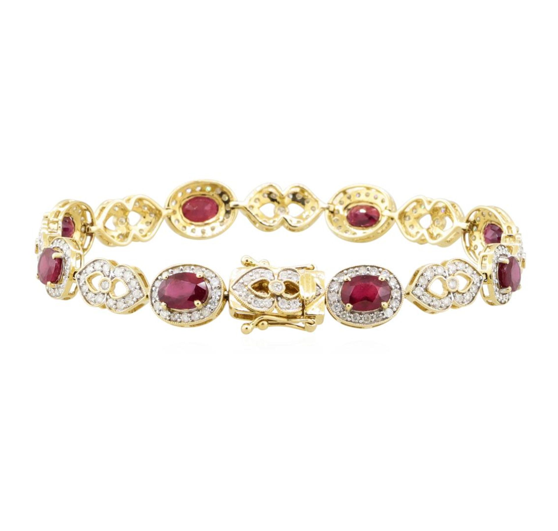 9.32 ctw Ruby and Diamond Bracelet - 14KT Yellow Gold - Image 3 of 3