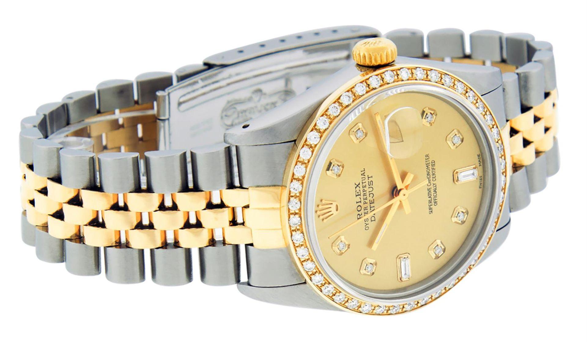 Rolex Mens 2 Tone Champagne Diamond 36MM Datejust Wriswatch - Image 4 of 9