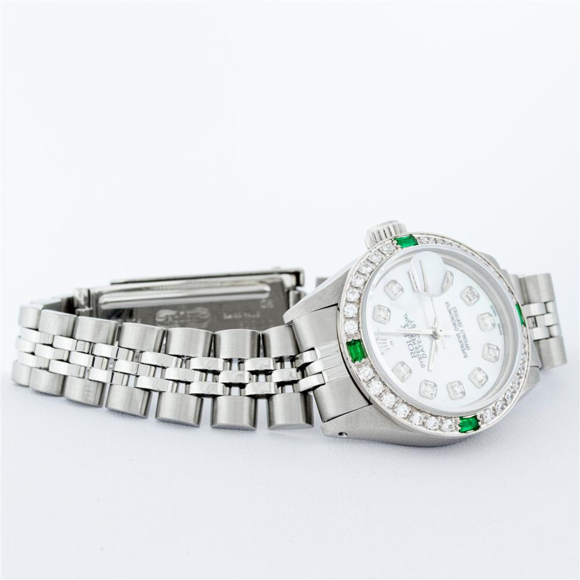 Rolex Ladies Stainless Steel Mother Of Pearl Diamond 26MM Datejust Wristwatch - Image 4 of 9