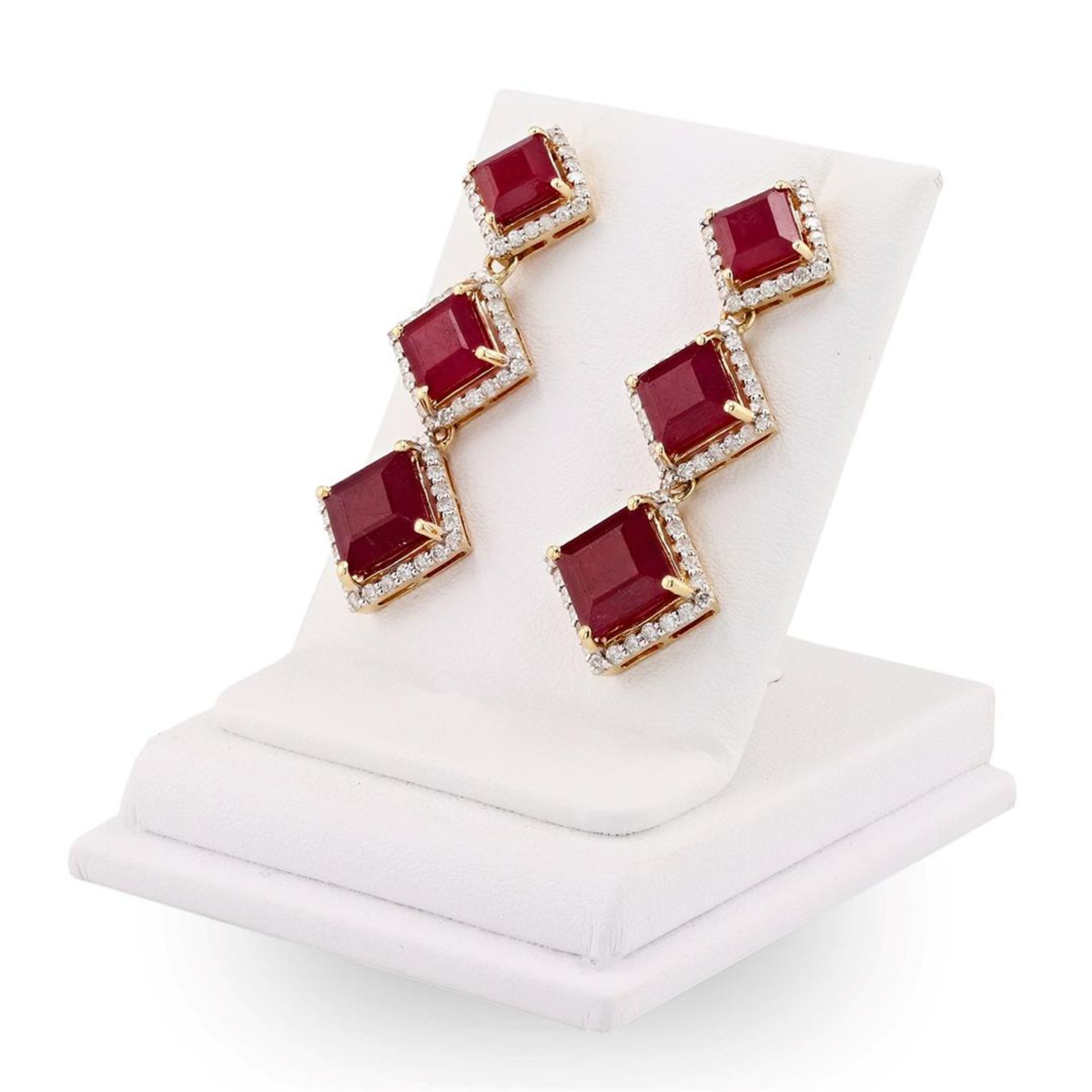 16.77 ctw Ruby and 1.41 ctw Diamond 14K Yellow Gold Earrings - Image 3 of 4