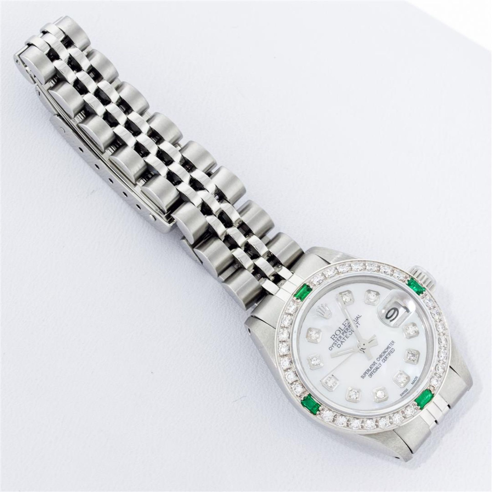 Rolex Ladies Stainless Steel Mother Of Pearl Diamond 26MM Datejust Wristwatch - Image 6 of 9