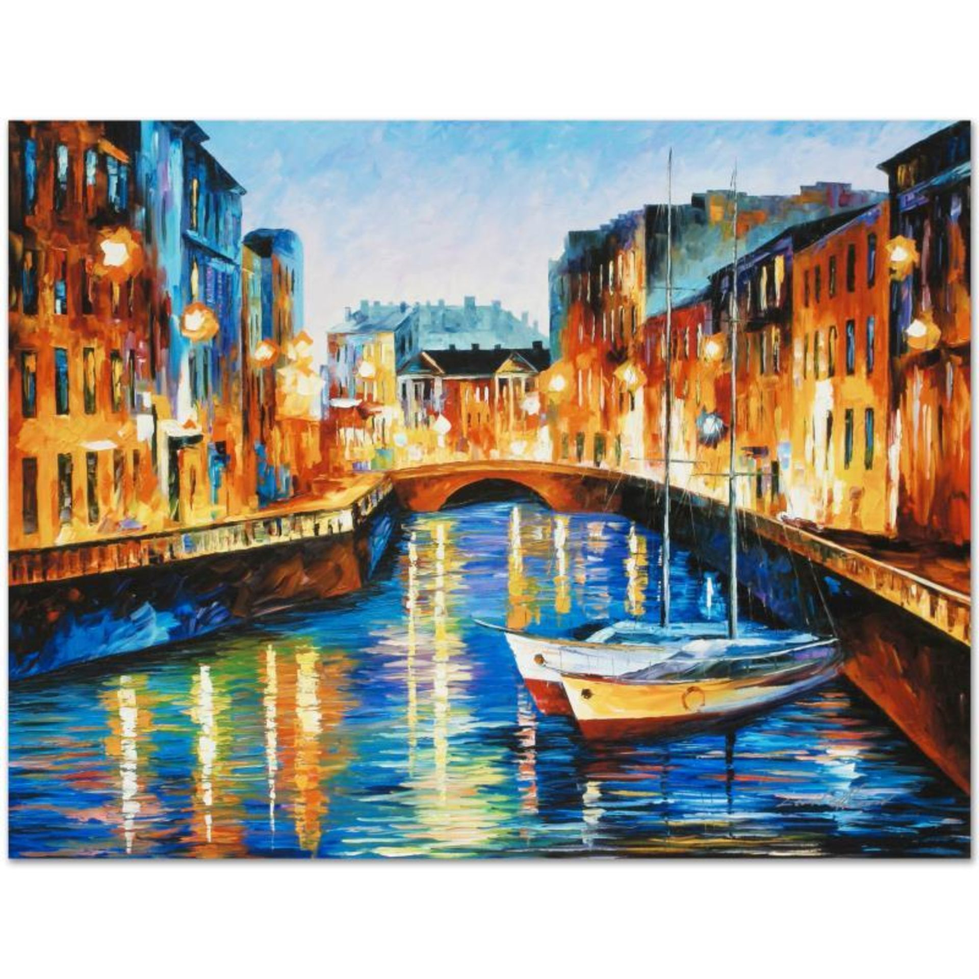 "Leonid Afremov (1955-2019) ""Evening River"" Limited Edition Giclee on Canvas, Num"