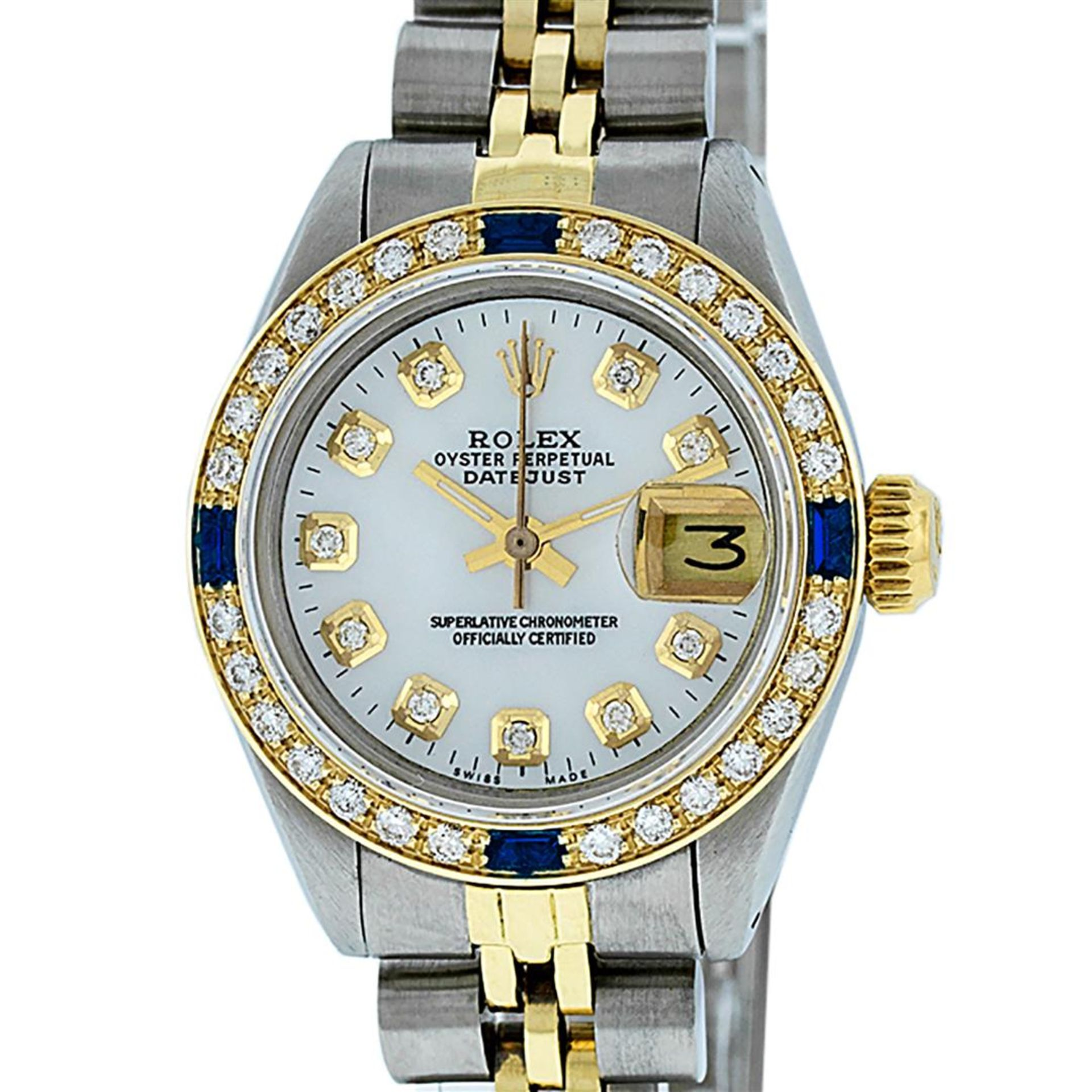 Rolex Ladies 2T 26 MOP Diamond & Sapphire Oyster Perpetual Datejust Serviced