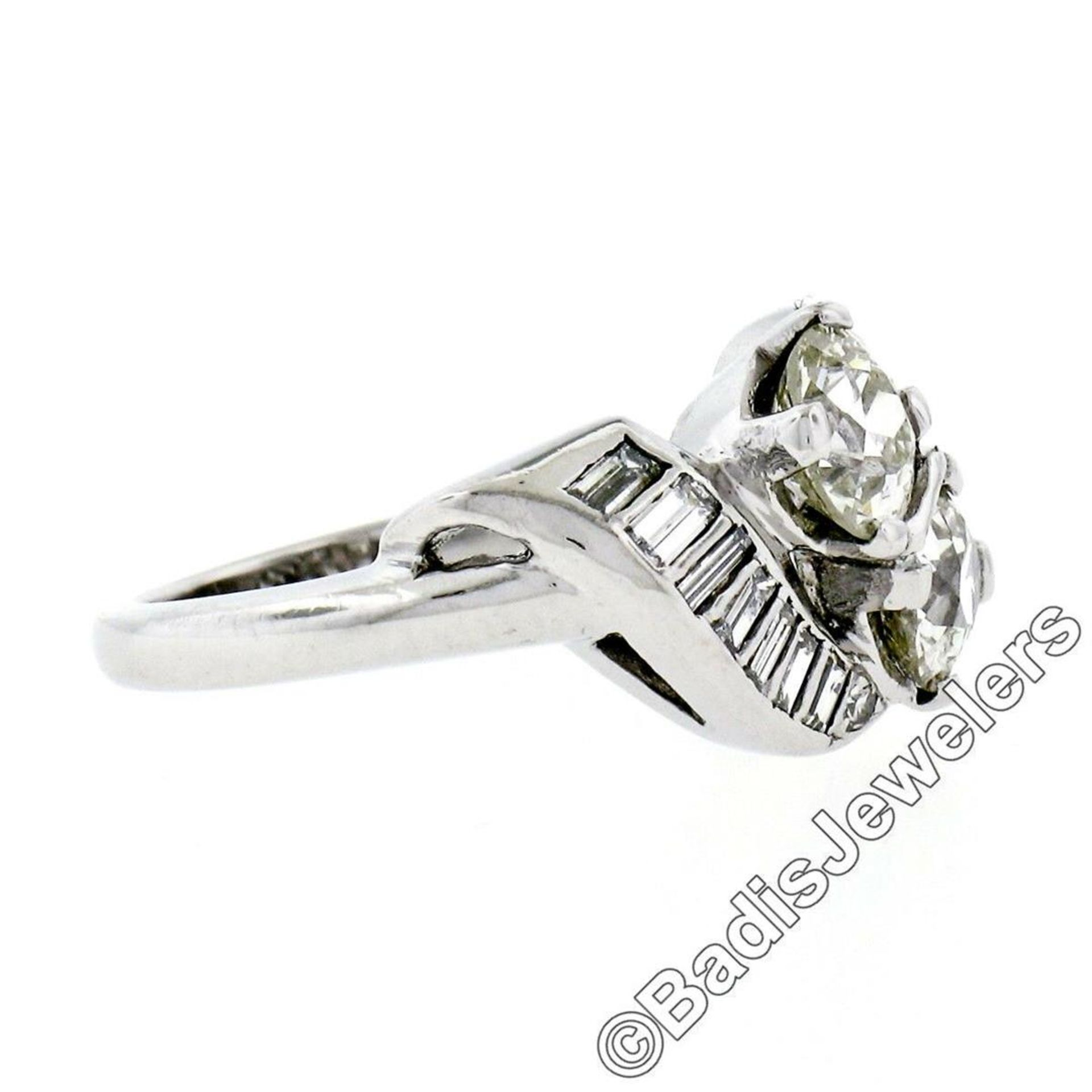 Art Deco Platinum 1.48 ctw Old European and Baguette Cut Diamond Bypass Ring - Image 8 of 9
