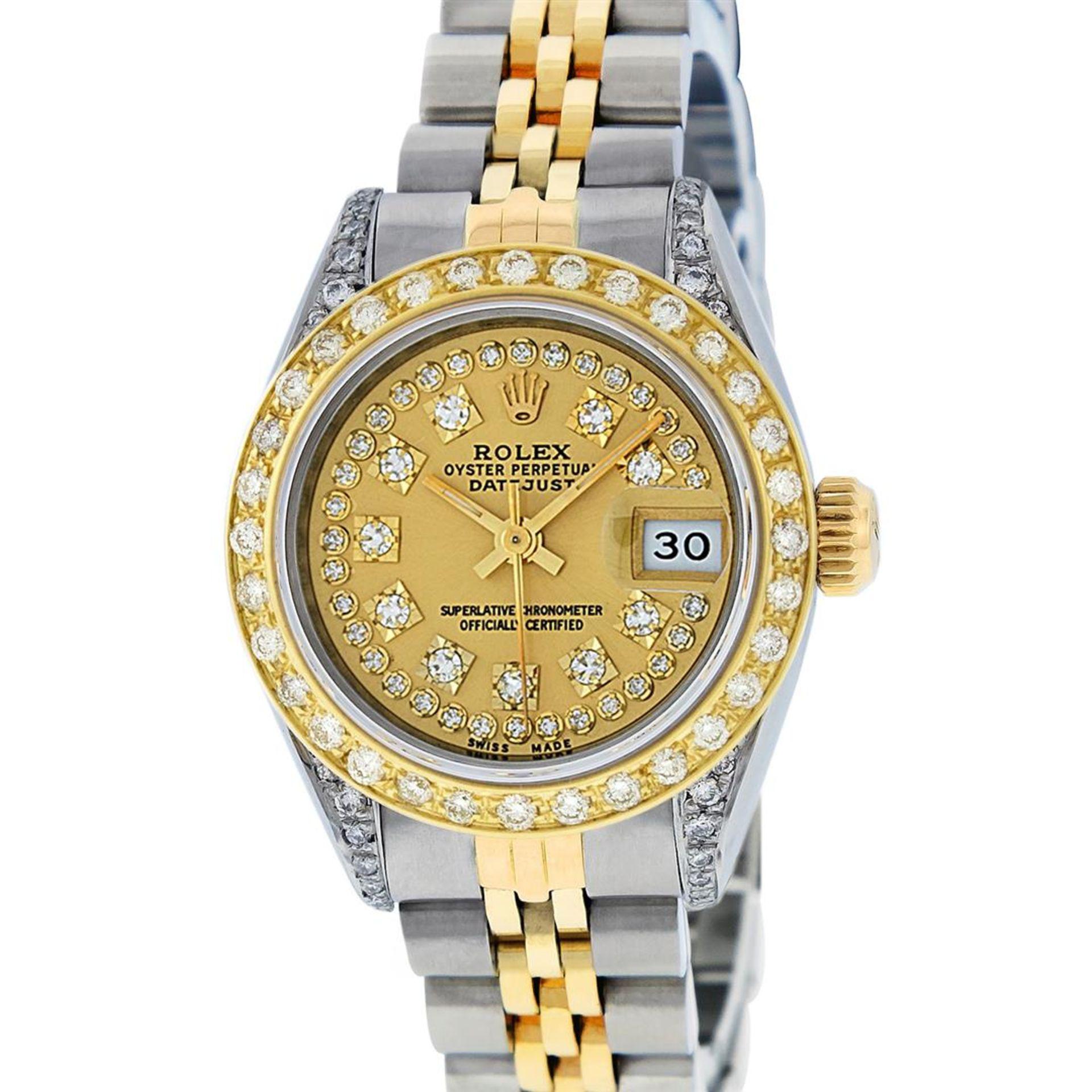 Rolex Ladies 2 Tone 18K Champagne String Diamond Lugs Datejust Wristwatch - Image 2 of 7