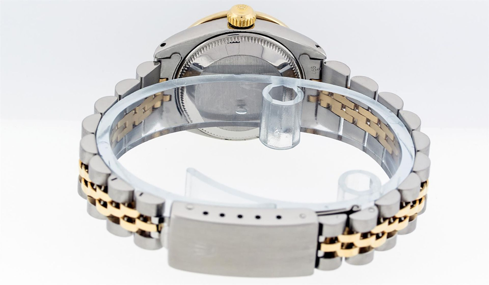 Rolex Ladies 2 Tone Silver Diamond & Sapphire Datejust Wristwatch - Image 9 of 9
