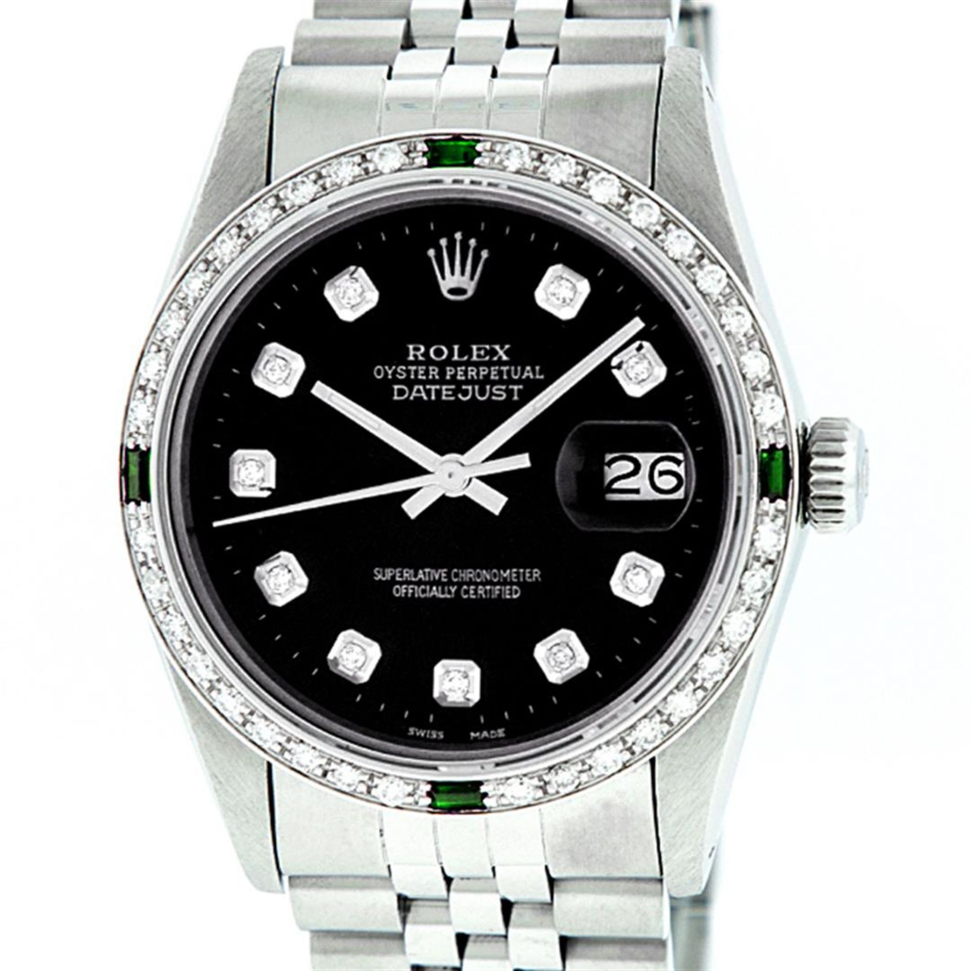 Rolex Mens Stainless Steel Black Diamond & Emerald Oyster Perpetual Datejust Wri - Image 2 of 9