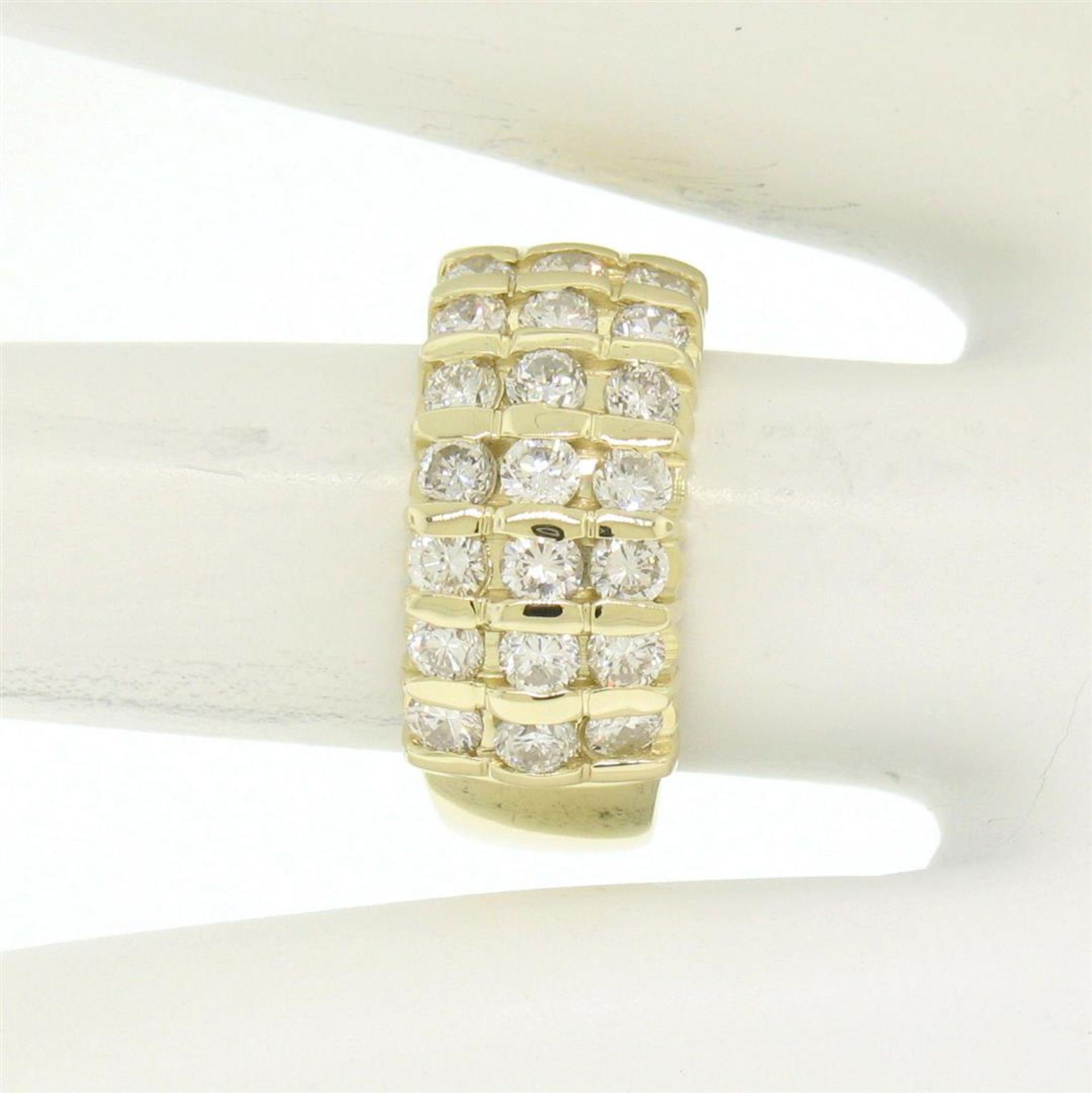 14kt Yellow Gold 1.48 ctw Bar Set Round Diamond Wide Band Ring - Image 7 of 7