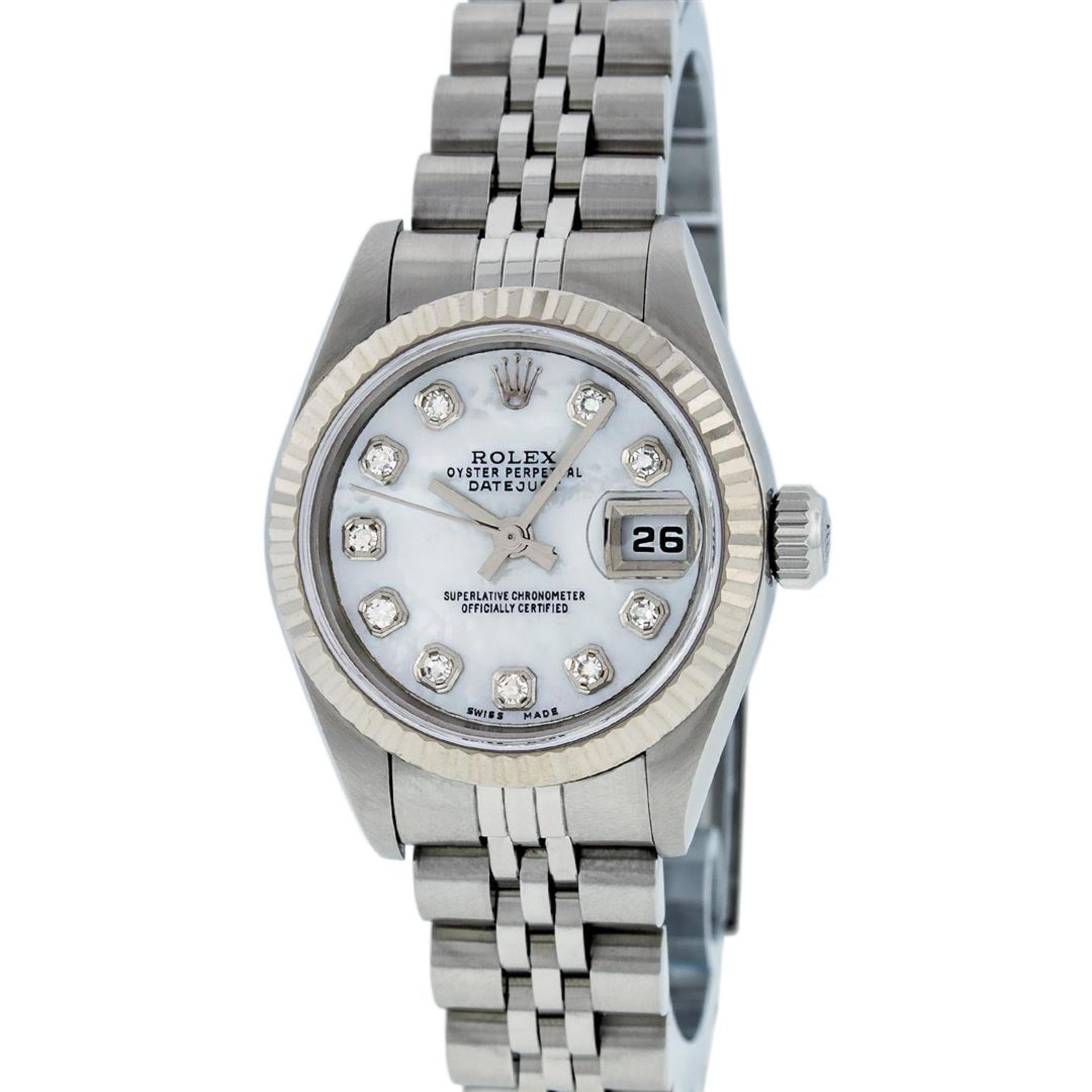 Rolex Ladies Stainless Steel Mother Of Pearl Diamond Quickset Datejust Wristwatc - Image 3 of 9